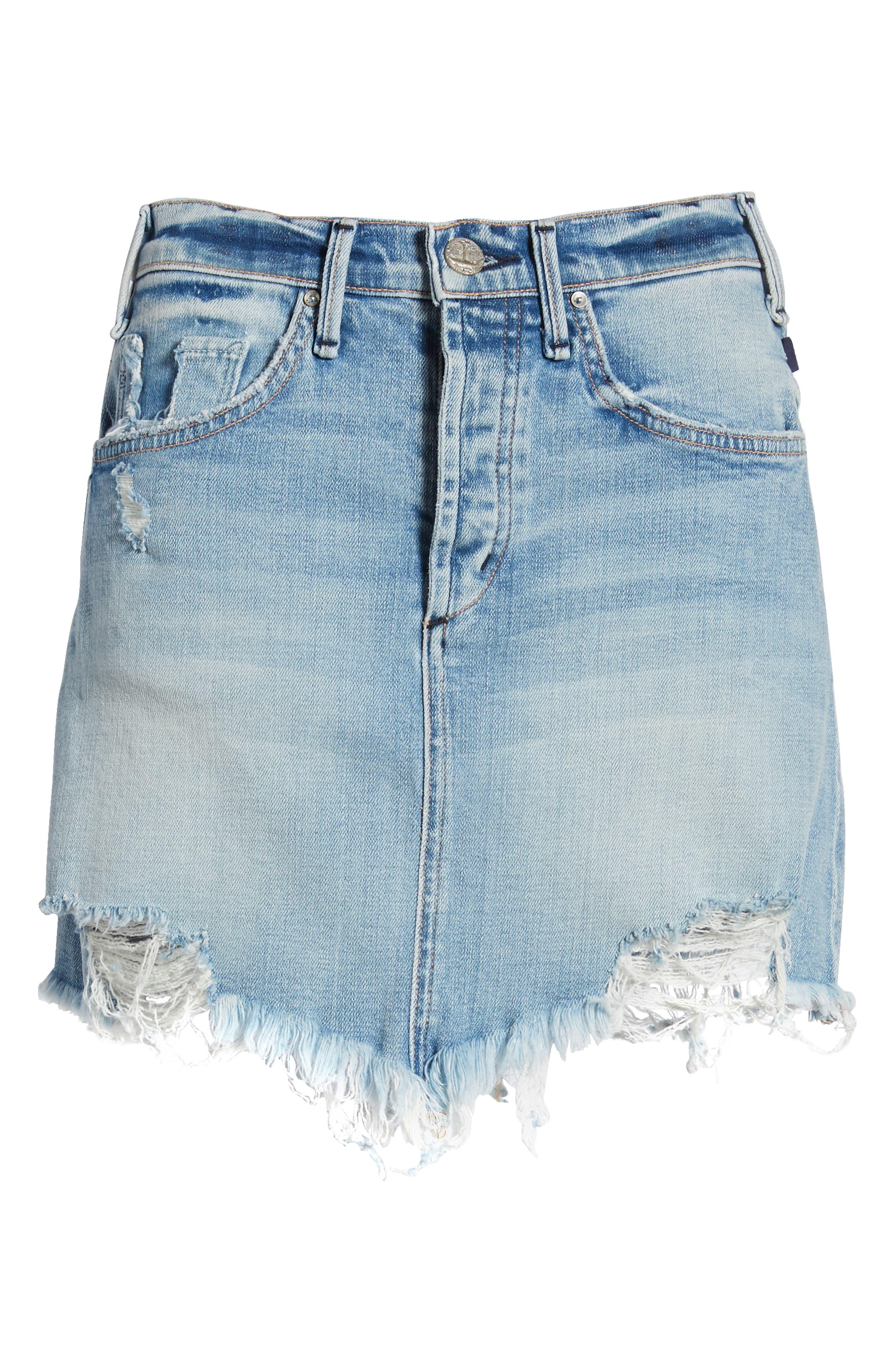 Izabel Angled Hem Denim Skirt,                             Alternate thumbnail 7, color,                             Dont Fade Away