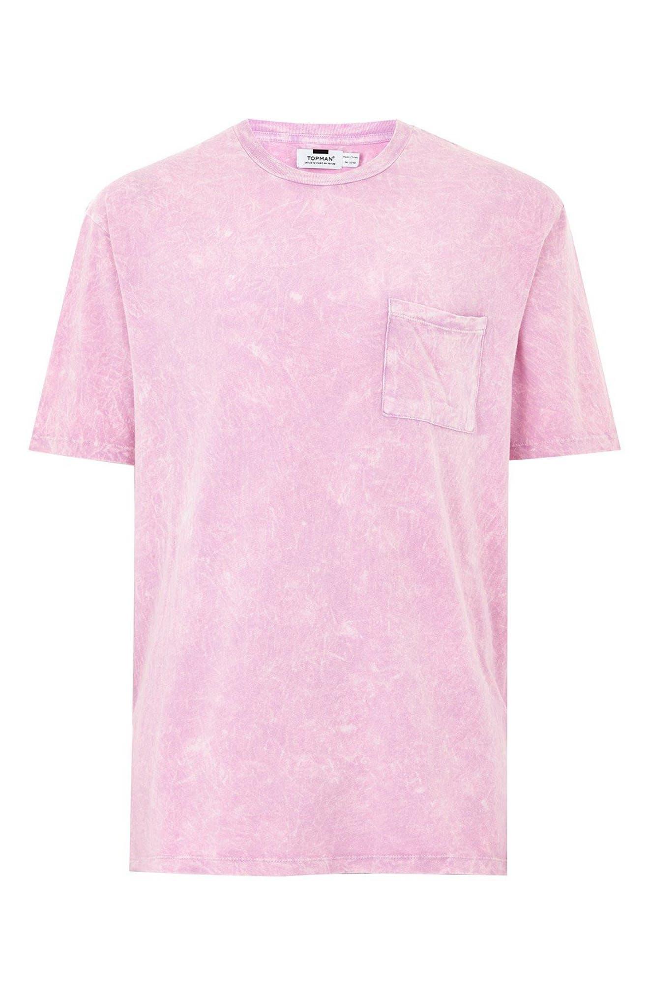 Acid Wash Pocket T-Shirt,                             Alternate thumbnail 4, color,                             Pink Multi