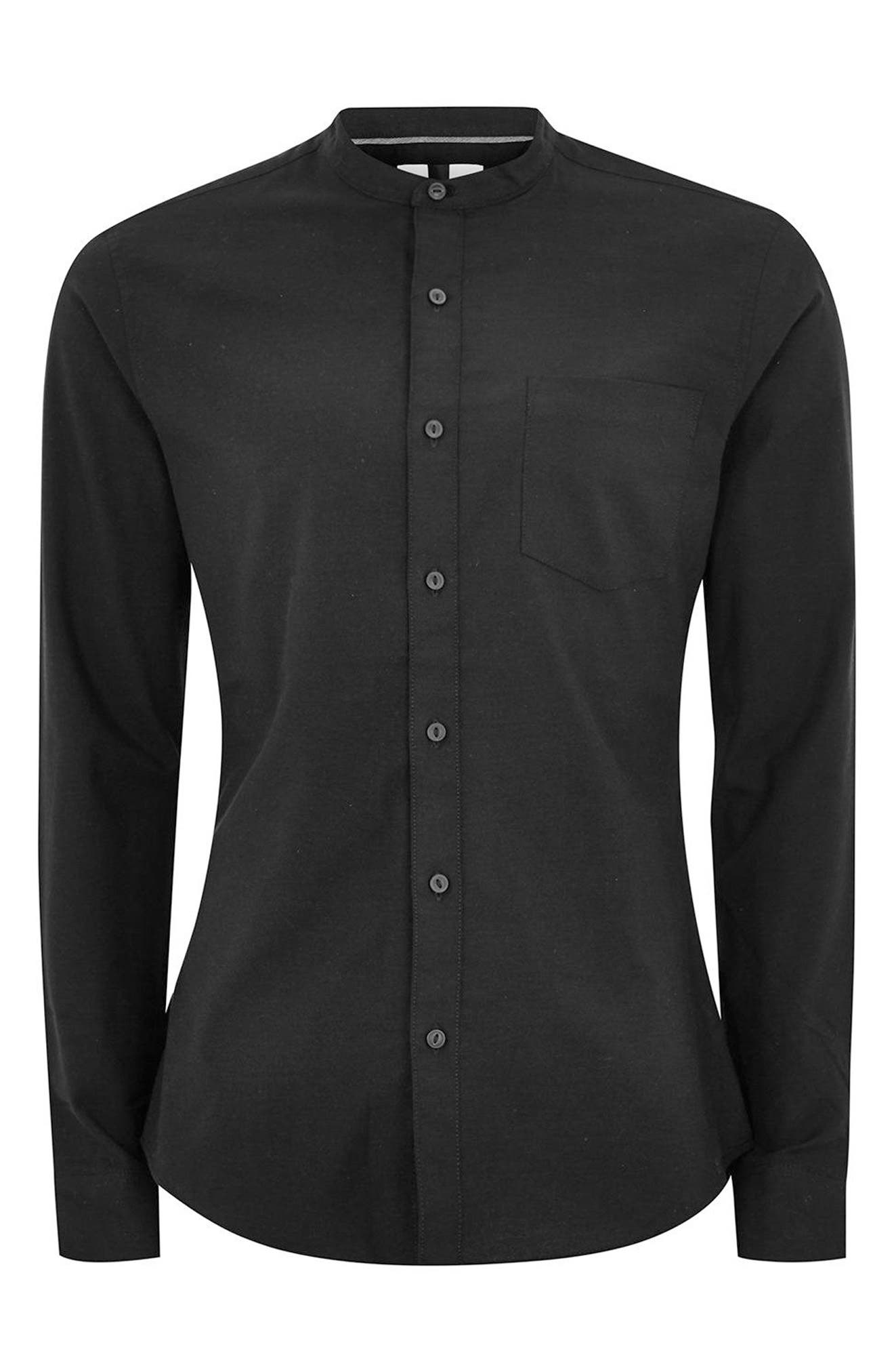 Muscle Fit Stretch Oxford Band Collar Shirt,                             Alternate thumbnail 4, color,                             Black