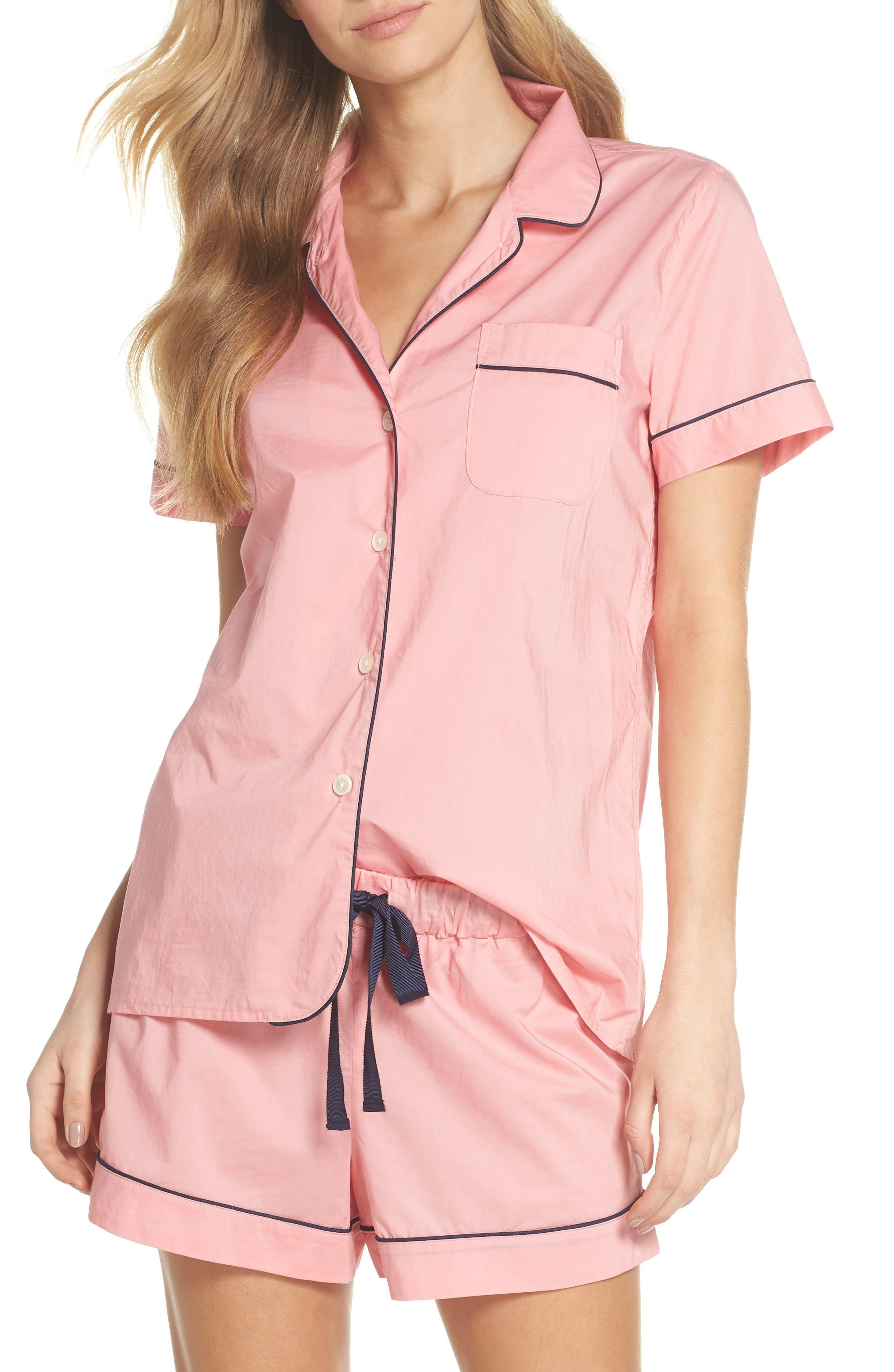Tipped Short Pajamas,                             Main thumbnail 1, color,                             Cool Pink