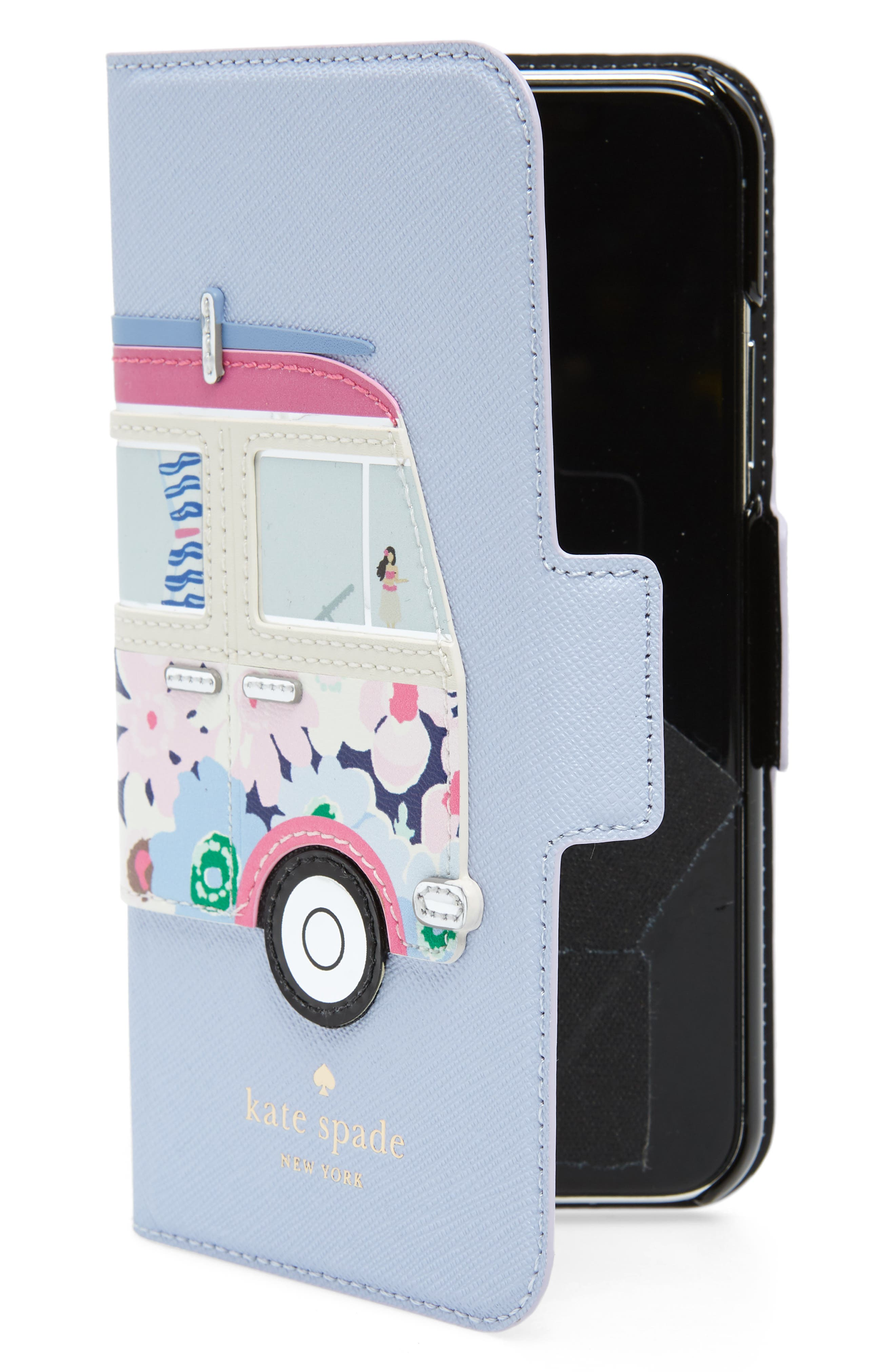 surf van iPhone X leather folio case,                             Main thumbnail 1, color,                             Blue Multi
