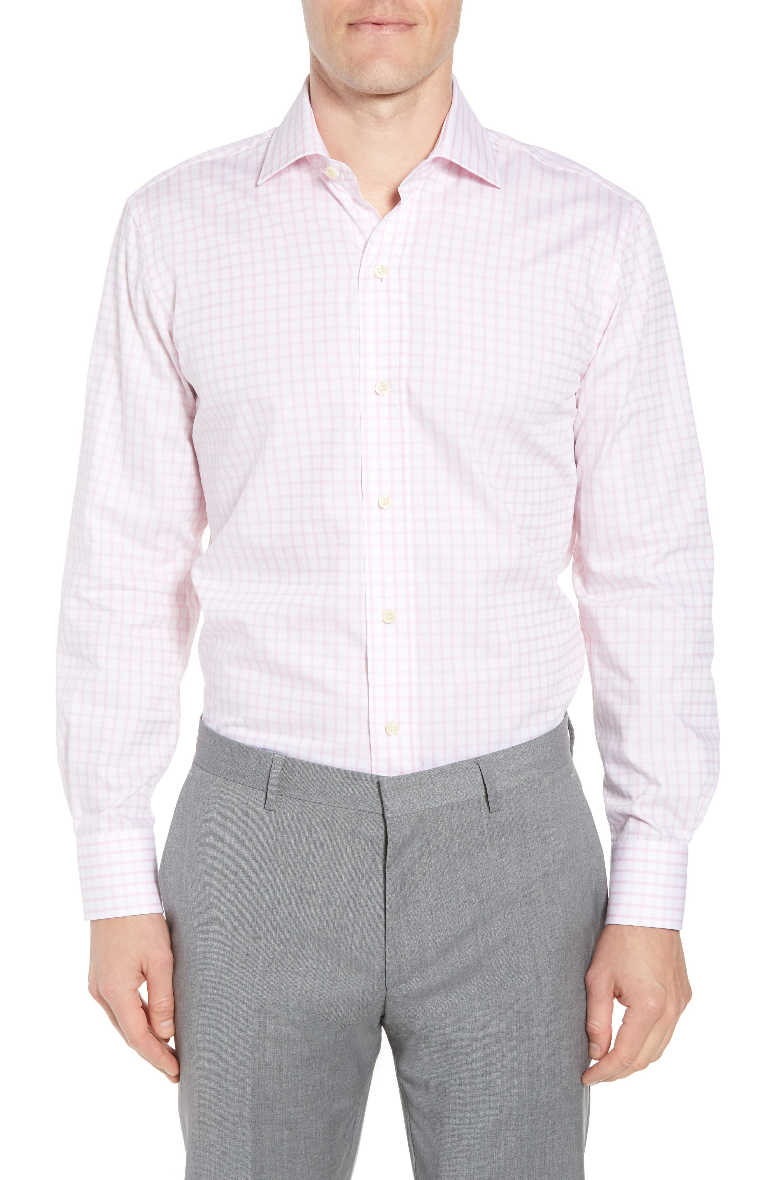 Ledbury Armett Trim Fit Windowpane Dress Shirt
