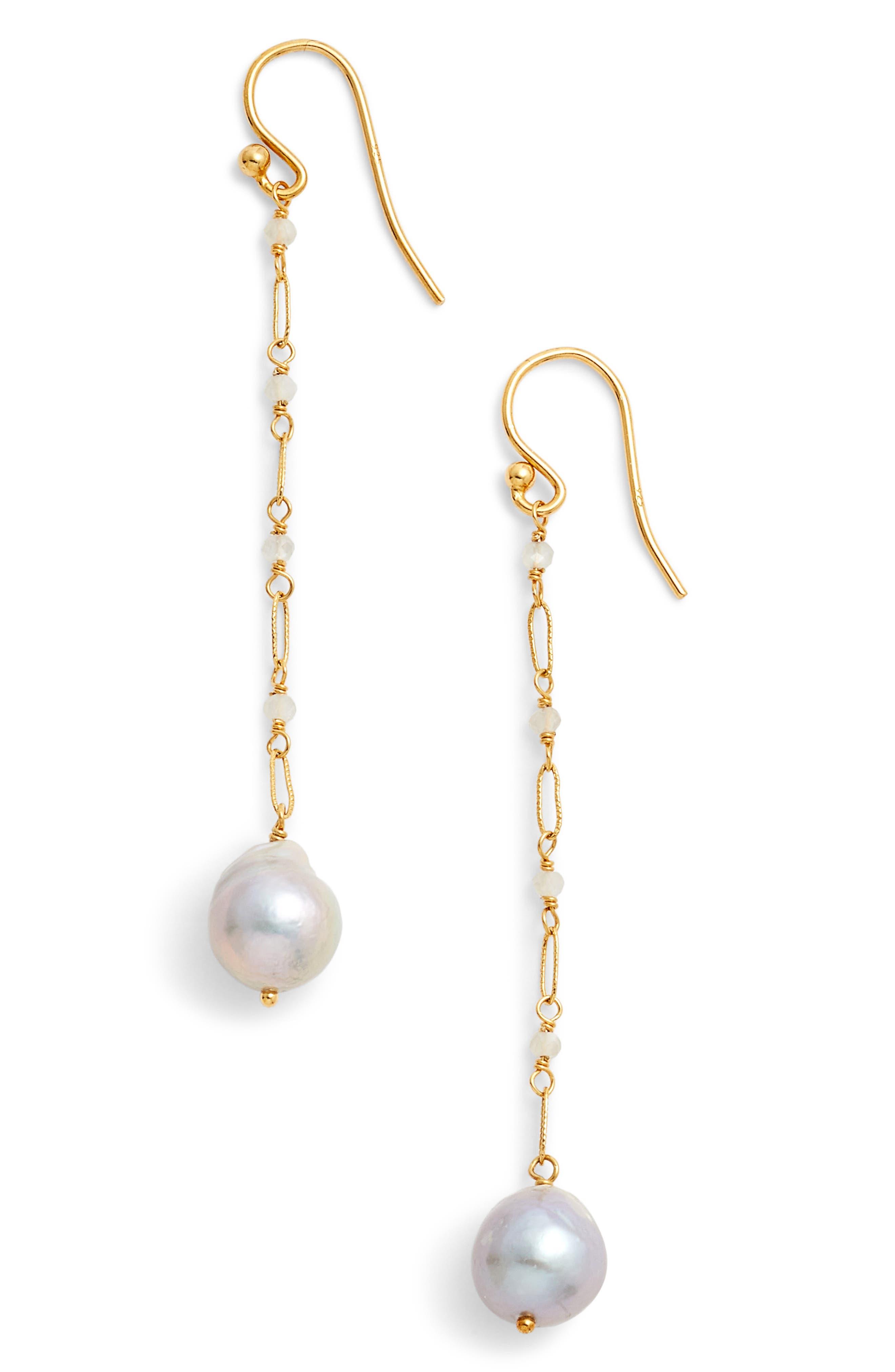 Chan Luu Linear Pearl Drop Earrings