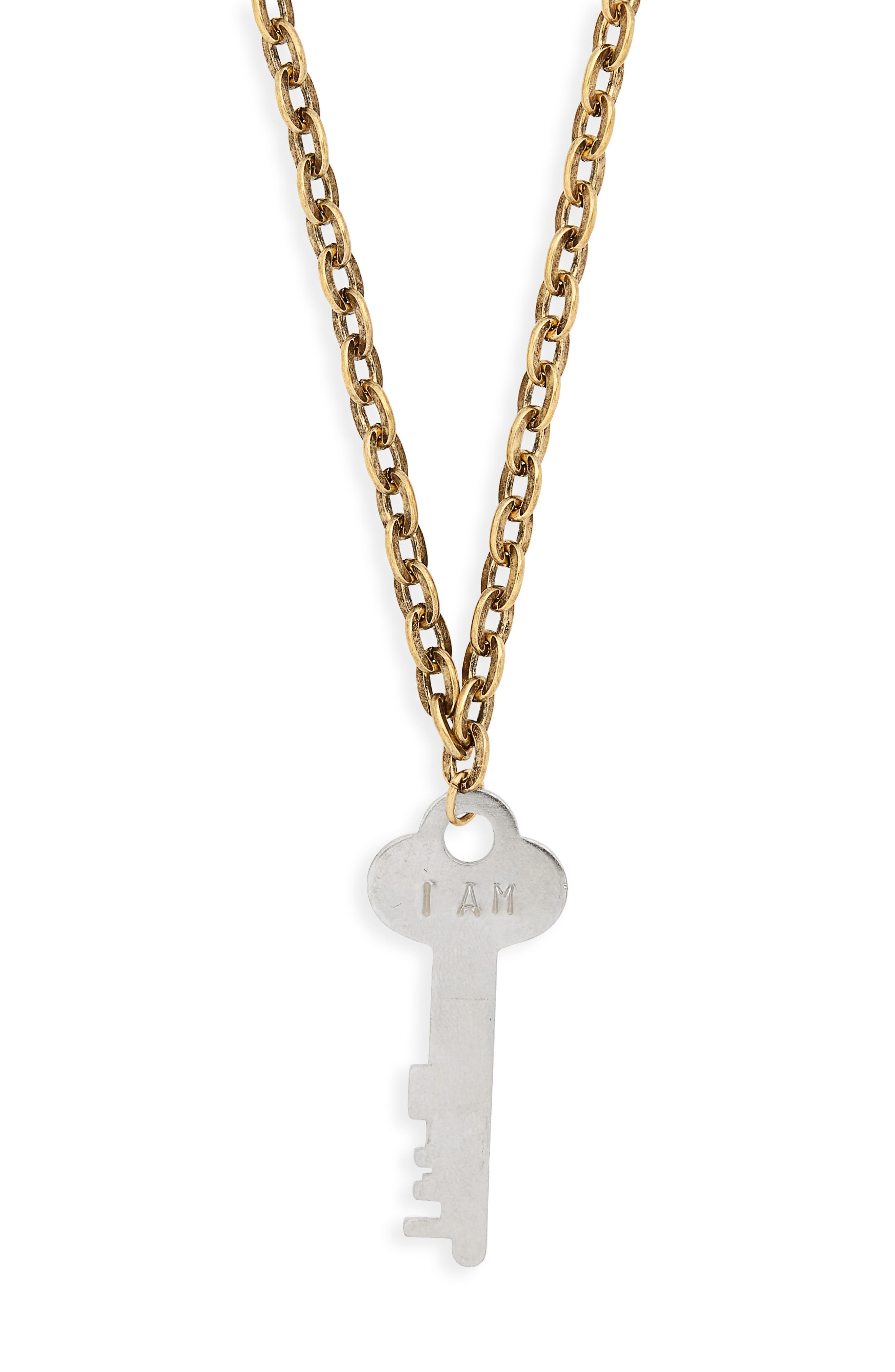 I Am Grateful Key Charm Necklace,                             Alternate thumbnail 2, color,                             Gold/ Silver Key