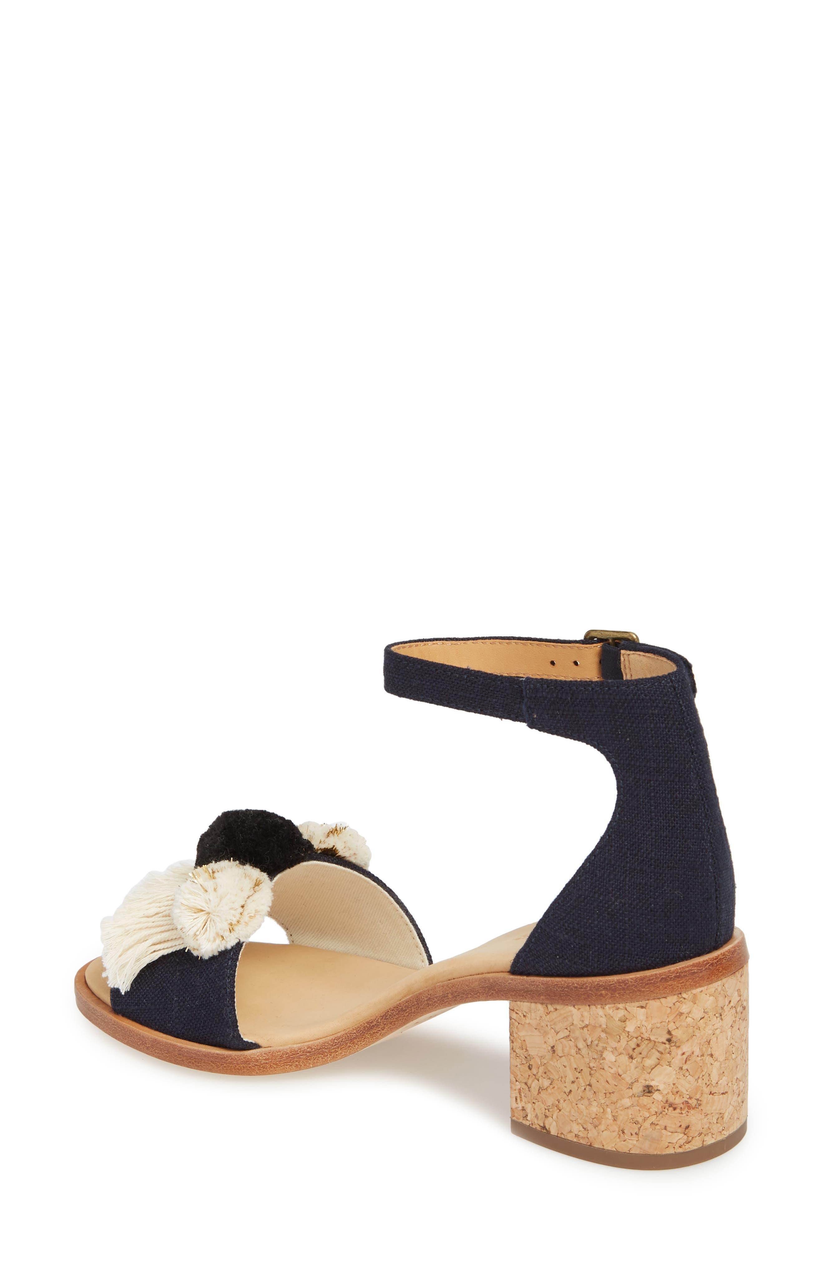 Capri Pom Pom Heel Sandal,                             Alternate thumbnail 2, color,                             Eclipse