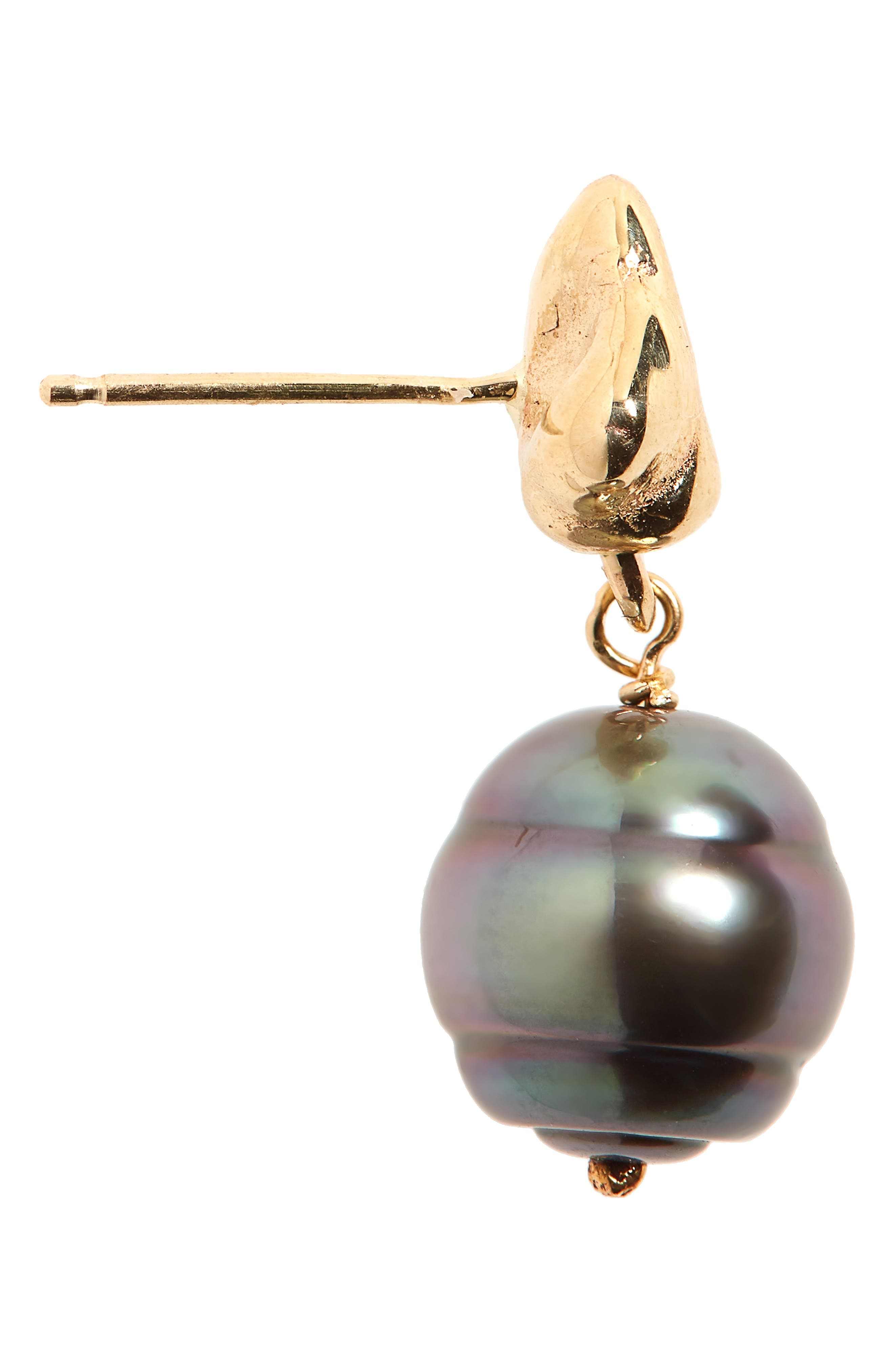 Black Pearl Drop Earrings,                             Alternate thumbnail 5, color,                             Gold/ Black Pearl