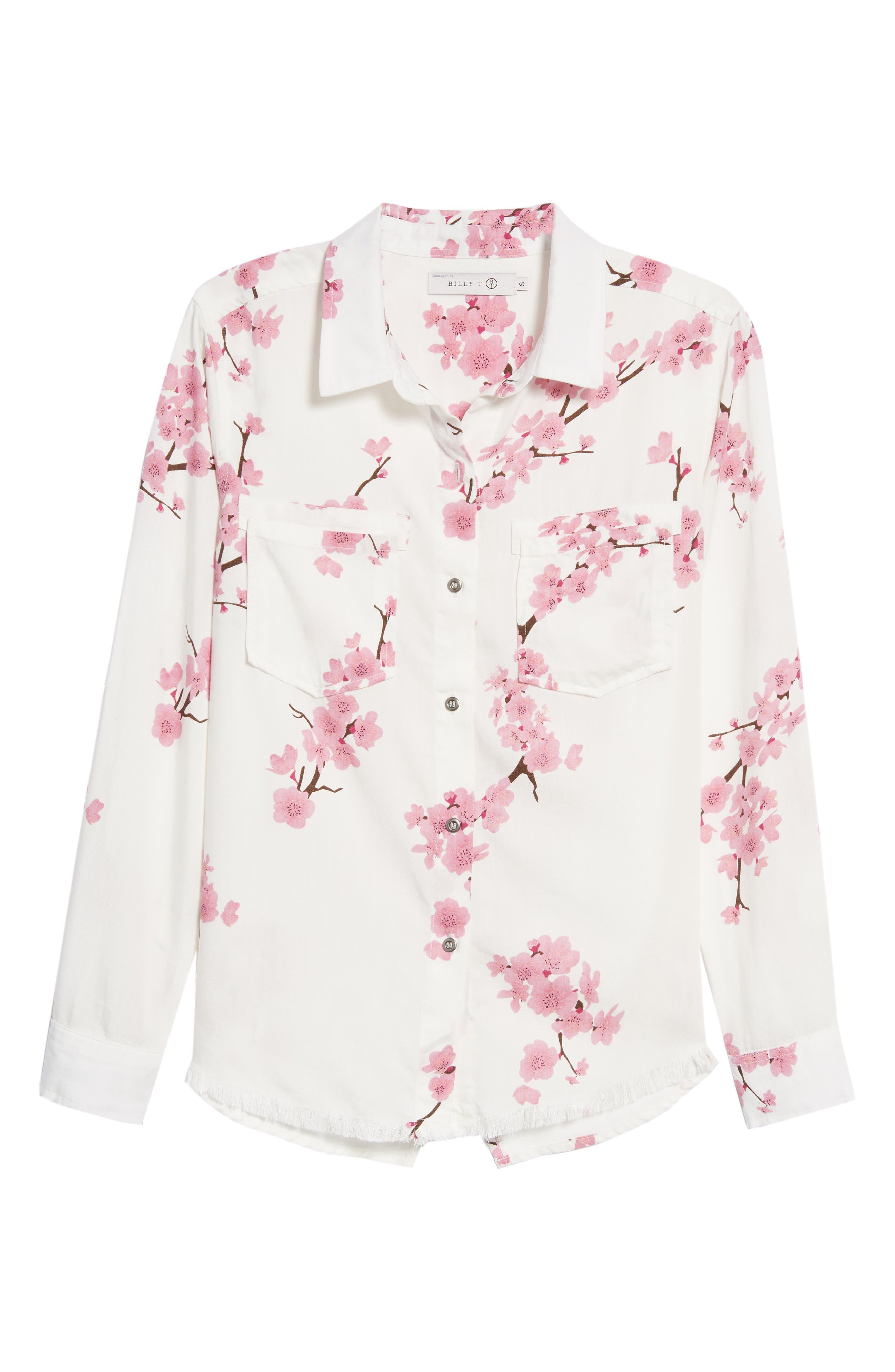 Cherry Blossom Roll Tab Sleeve Shirt,                             Alternate thumbnail 7, color,                             White Cherry Blossom
