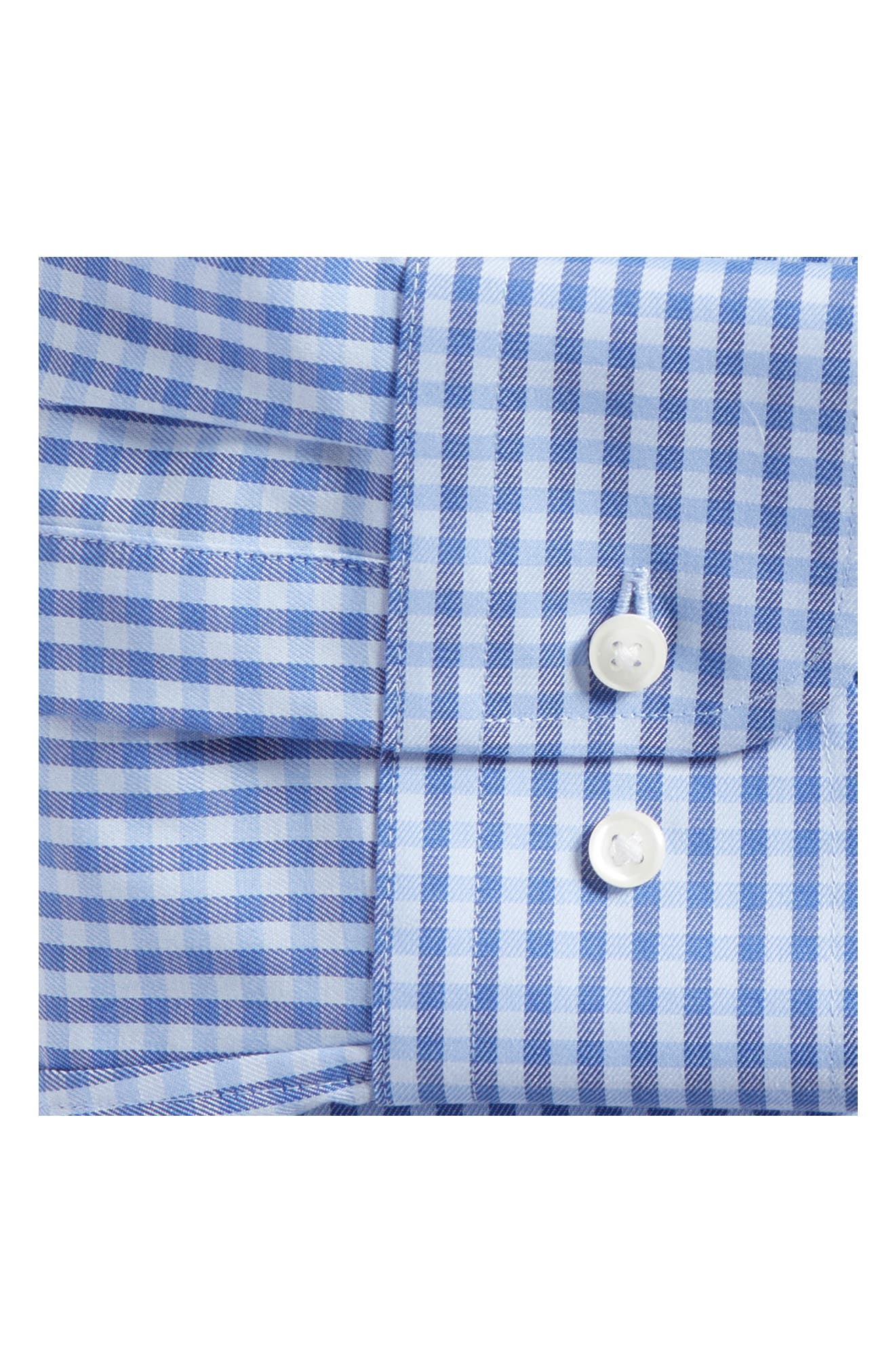 Trim Fit Non-Iron Gingham Dress Shirt,                             Alternate thumbnail 5, color,                             Blue Hydrangea