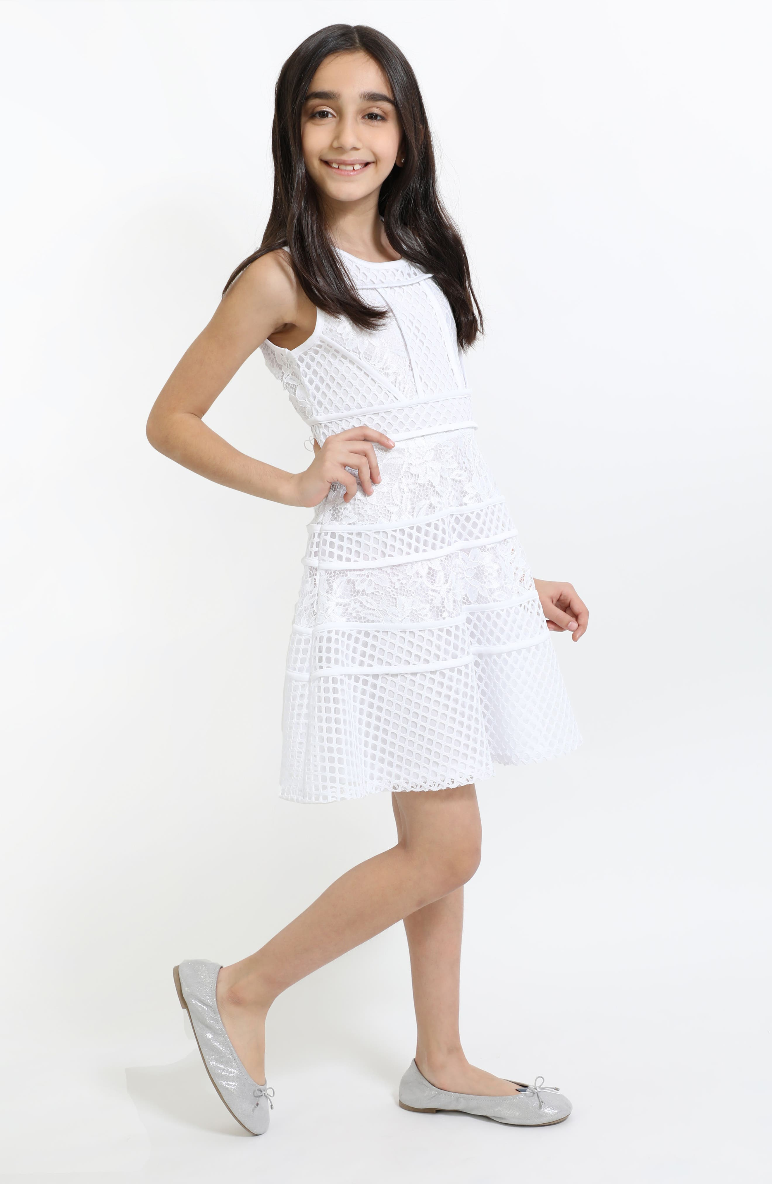 Lace & Mesh Tiered Dress,                             Alternate thumbnail 4, color,                             White