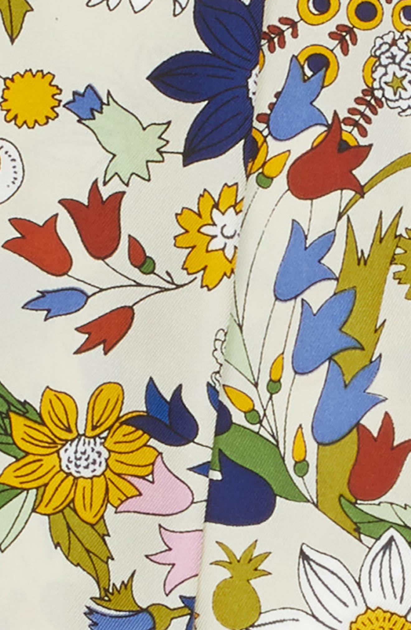 Meadow Folly Silk Twill Scarf,                             Alternate thumbnail 4, color,                             Ivory Meadow Folly