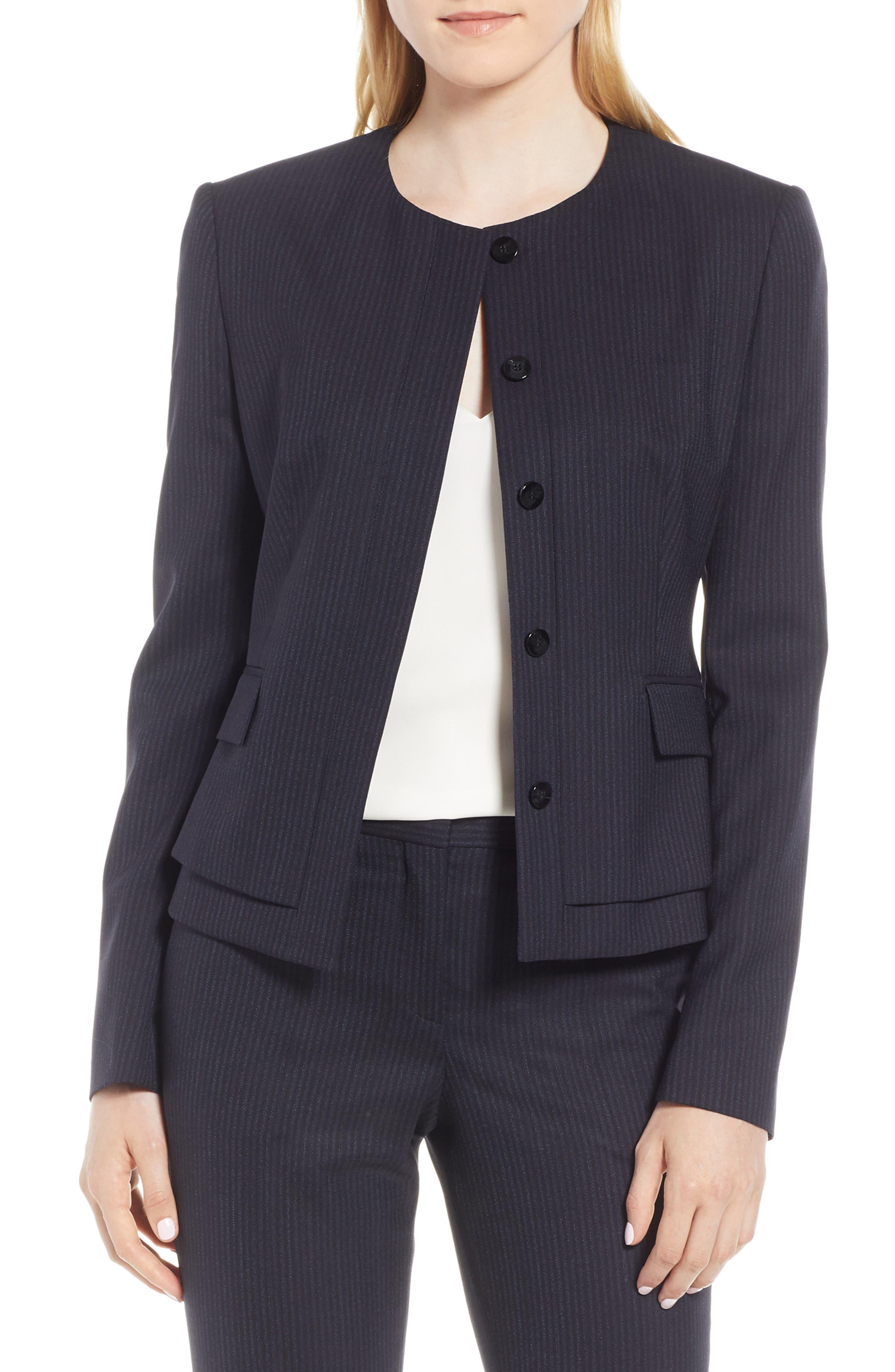 BOSS Jasyma Tonal Stripe Stretch Wool Suit Jacket