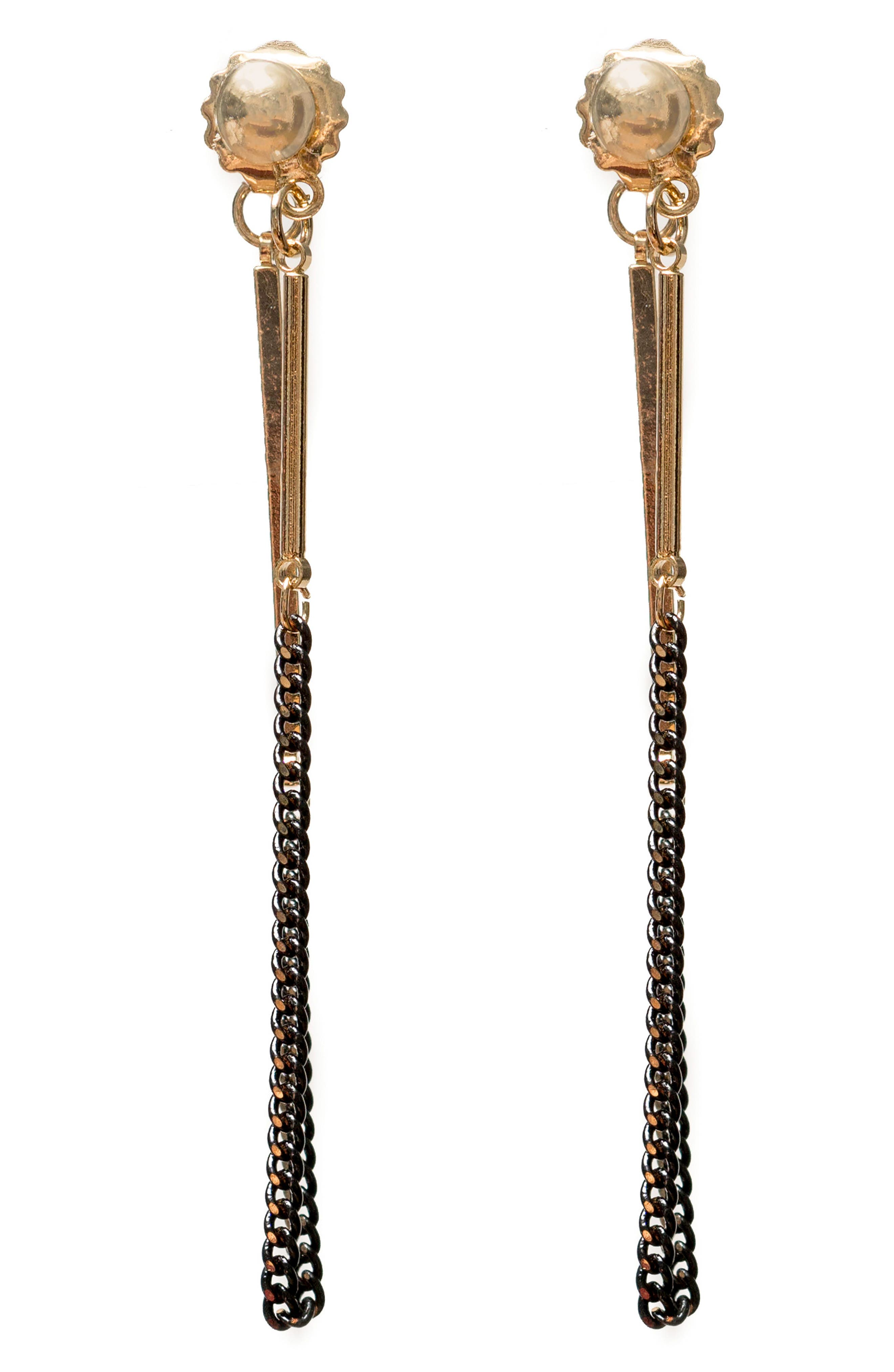 Two Tone Chain Earrings,                         Main,                         color, Gold/ Black
