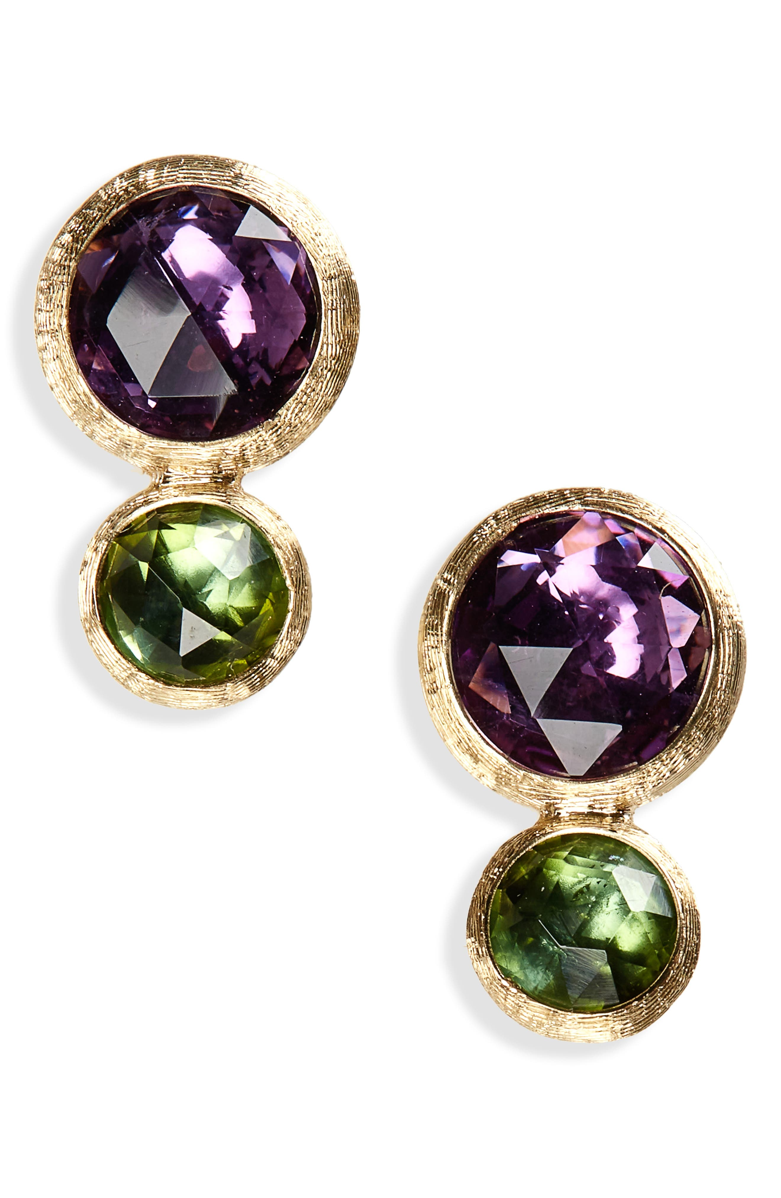 Jaipur Amethyst & Tourmaline Stud Earrings,                             Main thumbnail 1, color,                             Yello Gold/ Amethyst