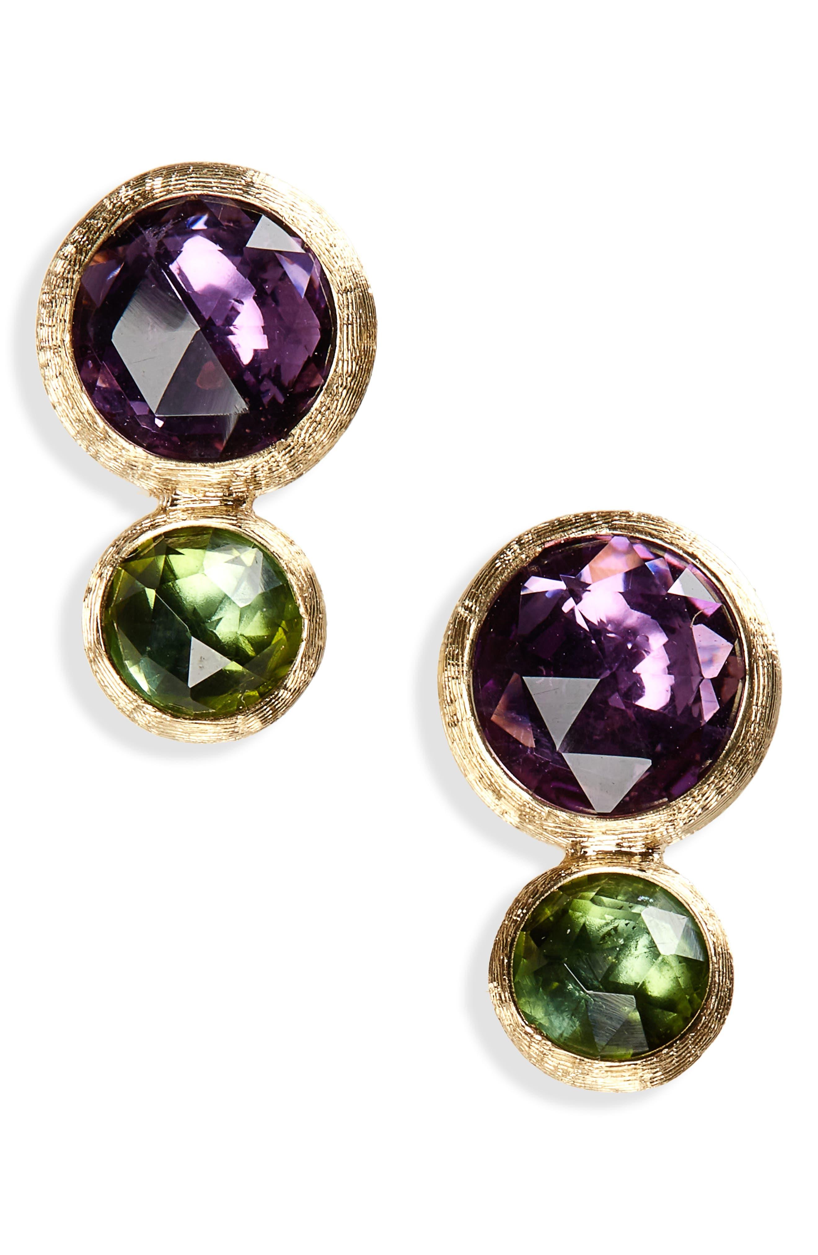 Jaipur Amethyst & Tourmaline Stud Earrings,                         Main,                         color, Yello Gold/ Amethyst