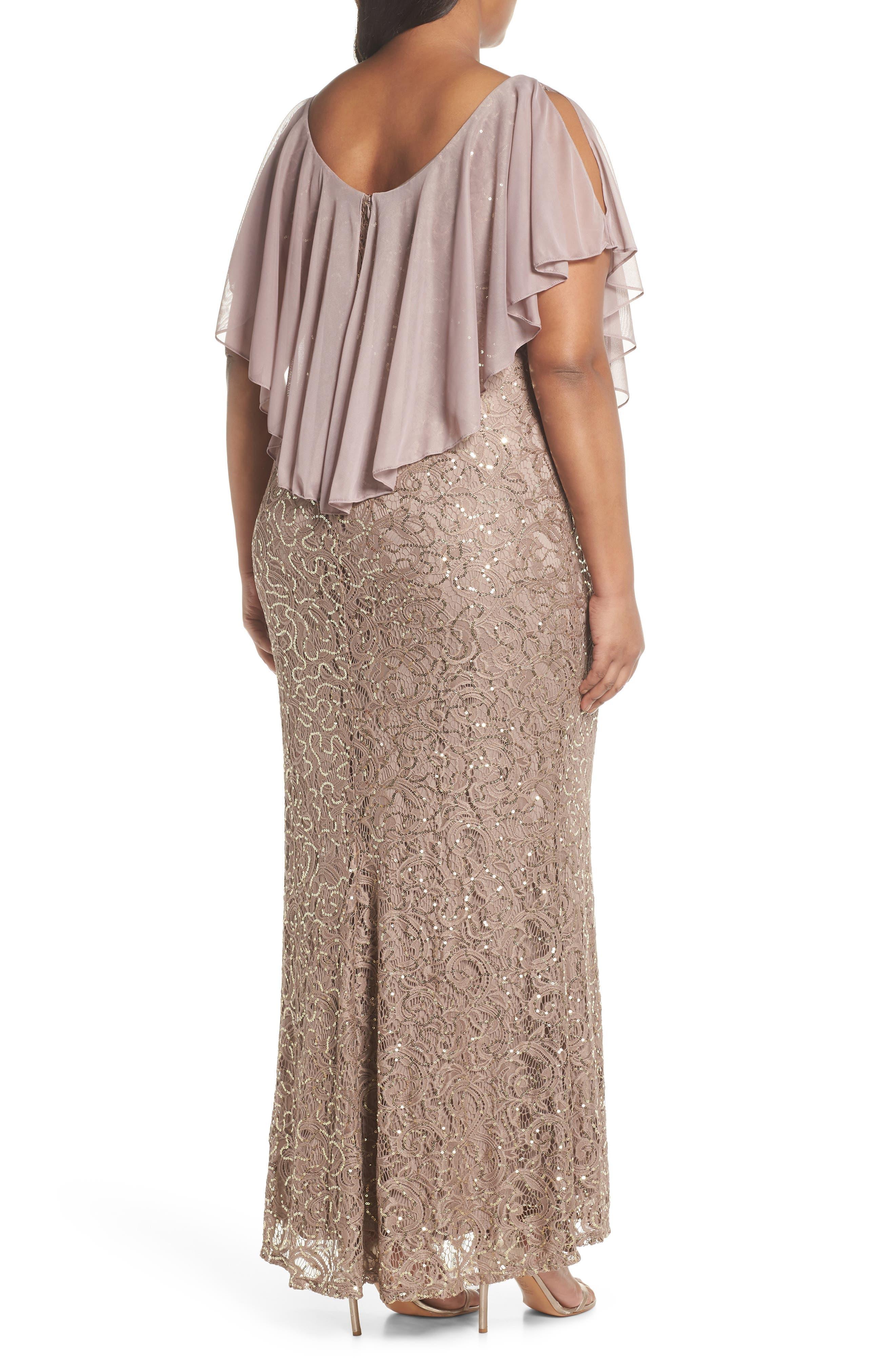 Capelet Sequin Lace A-Line Gown,                             Alternate thumbnail 2, color,                             Mocha