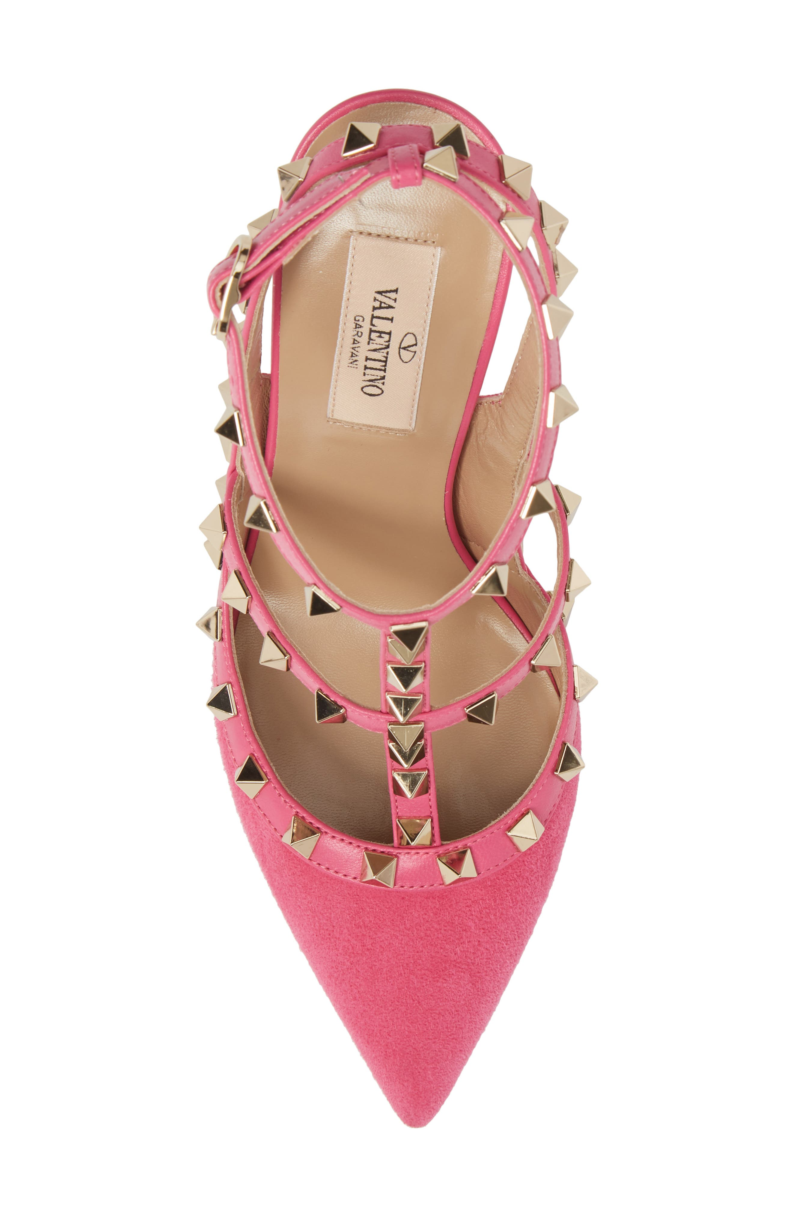 Rockstud T-Strap Pump,                             Alternate thumbnail 5, color,                             Pink/ Pink