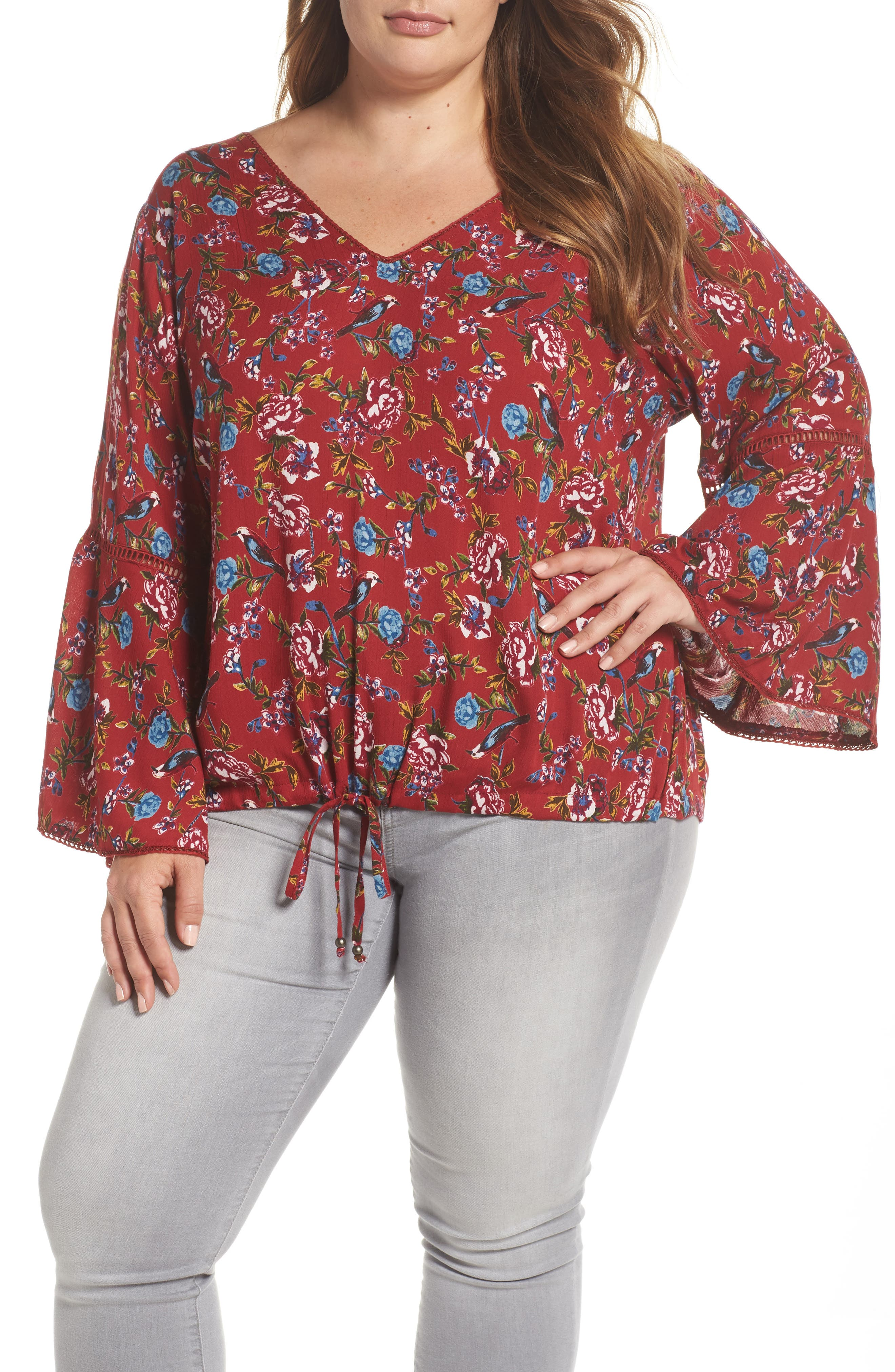 Print Drawstring Hem Top,                             Main thumbnail 1, color,                             Red Floral