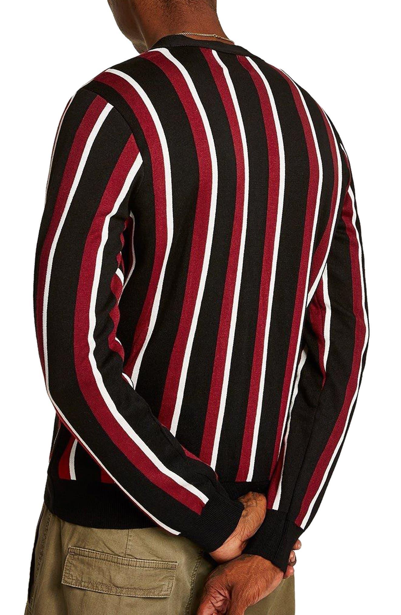 Slim Fit Stripe Cardigan,                             Alternate thumbnail 2, color,                             Black Multi