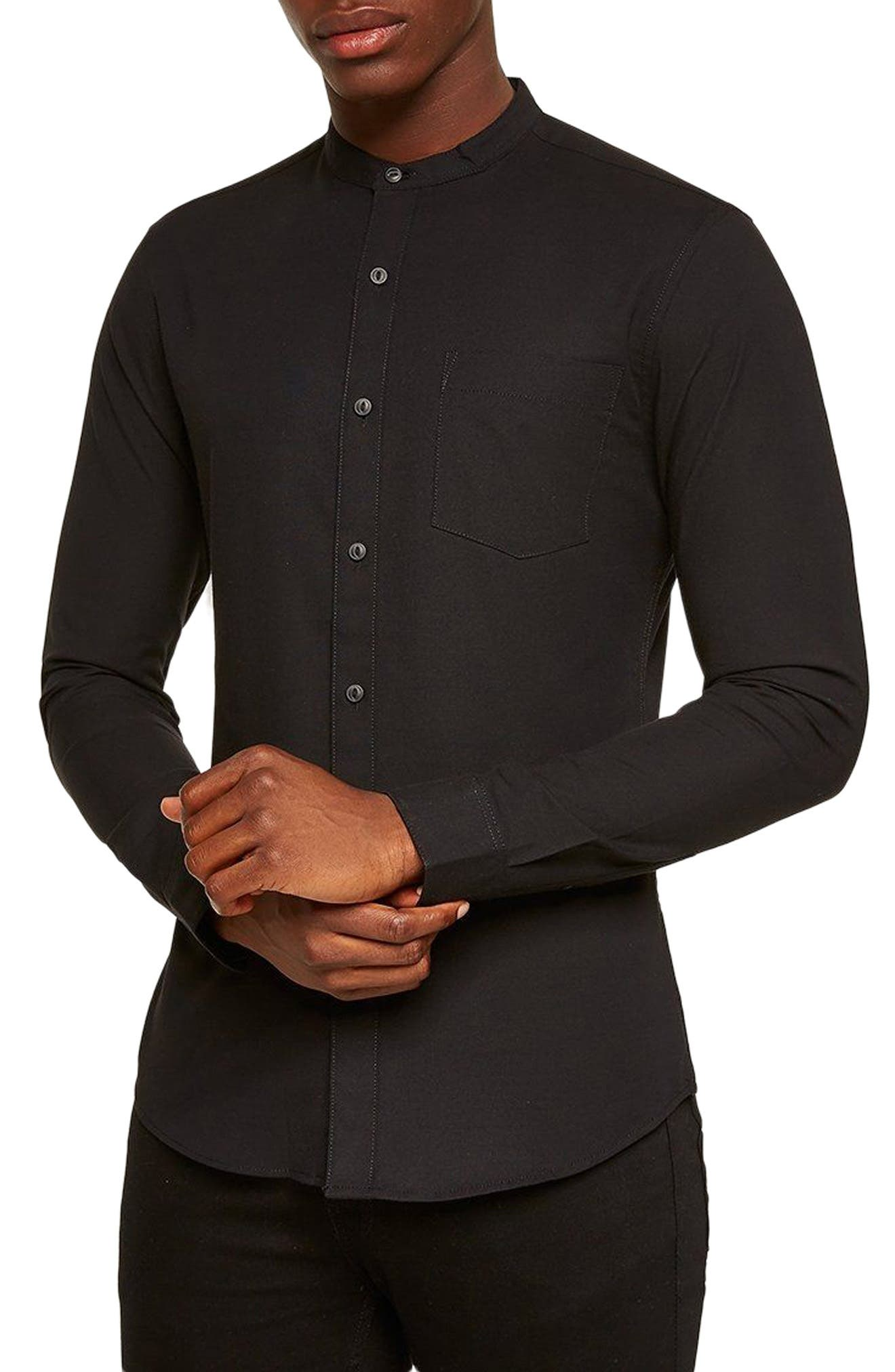 Muscle Fit Stretch Oxford Band Collar Shirt,                         Main,                         color, Black