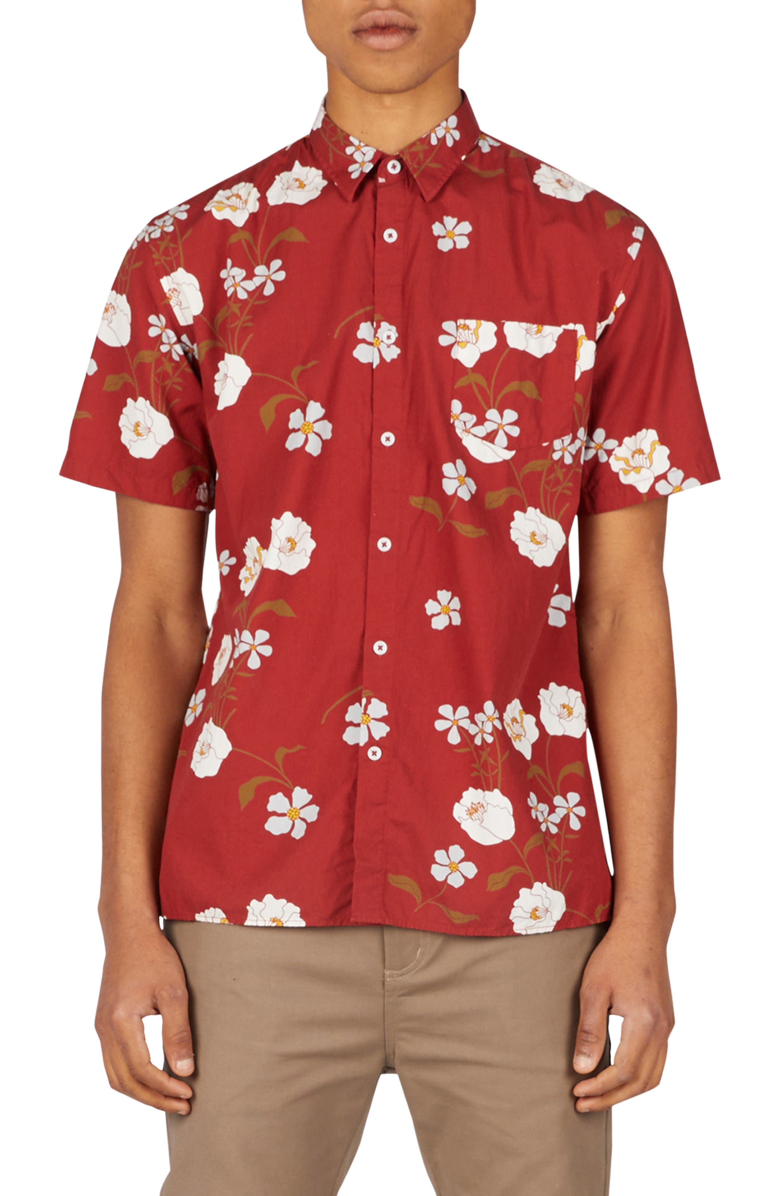 Floral Woven Shirt,                         Main,                         color, Dark Cherry