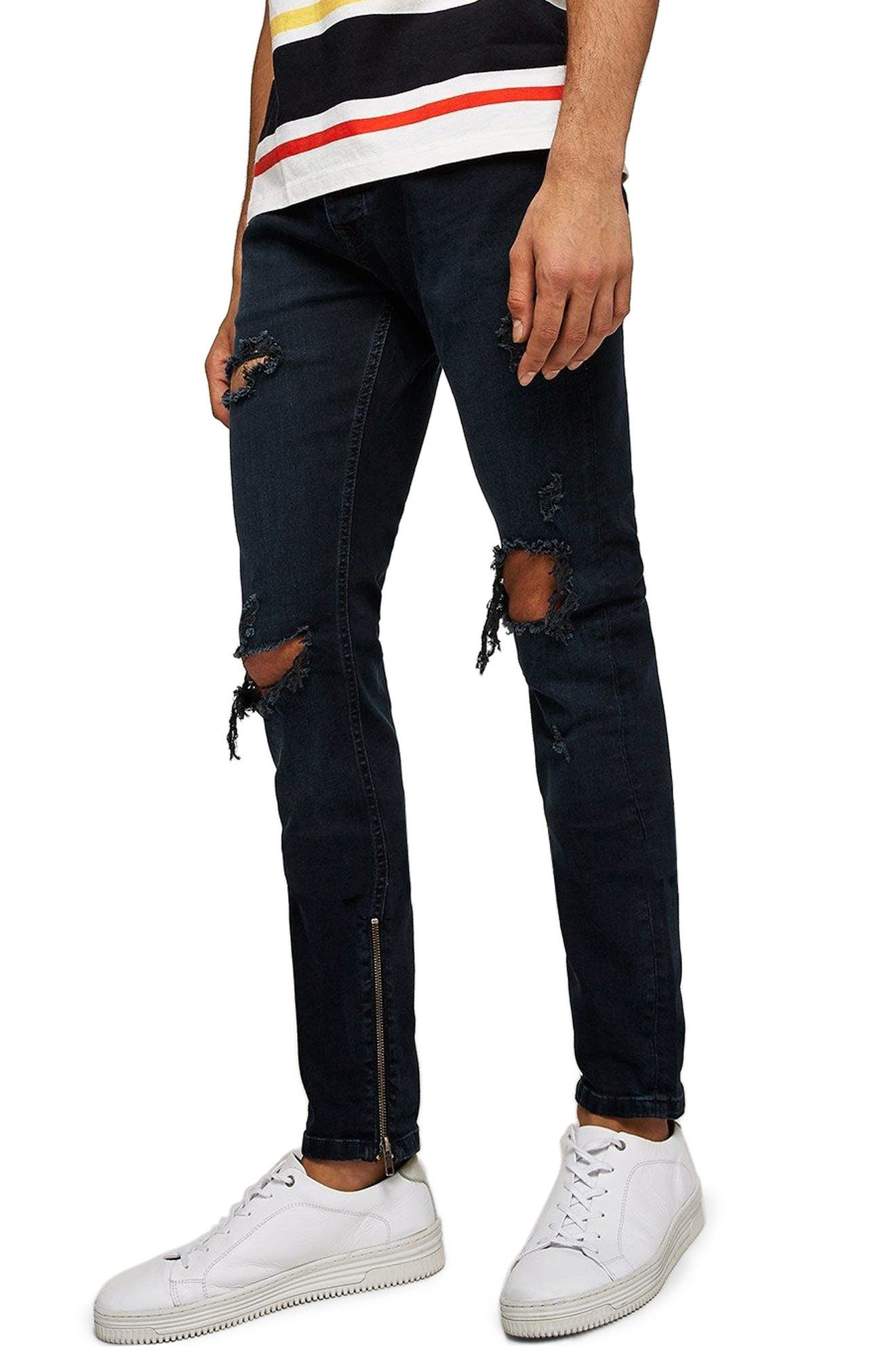 Ripped Stacker Stretch Skinny Fit Jeans,                             Main thumbnail 1, color,                             Blue