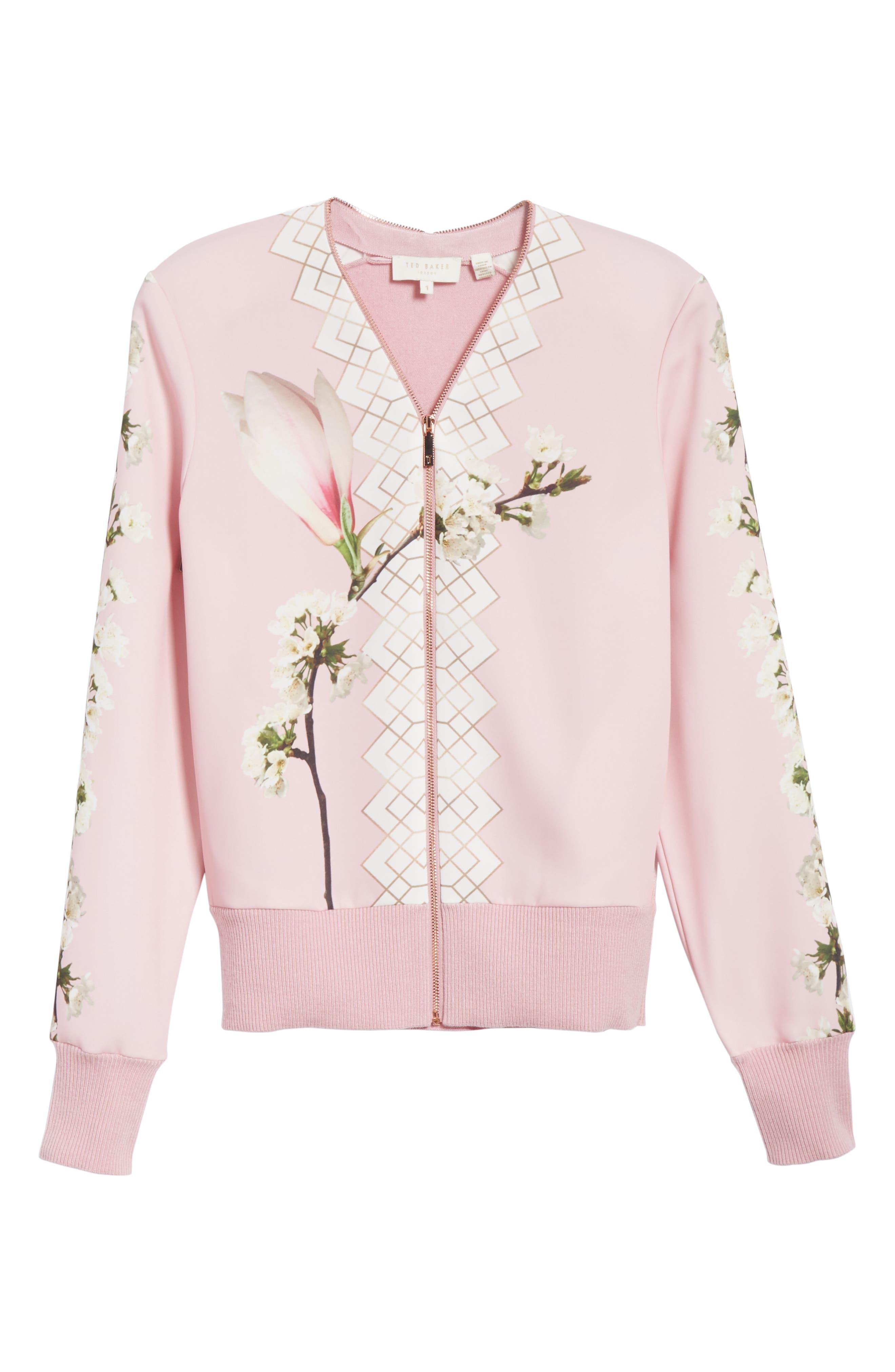 Emylou Harmony Bomber Jacket,                             Alternate thumbnail 6, color,                             Pale Pink