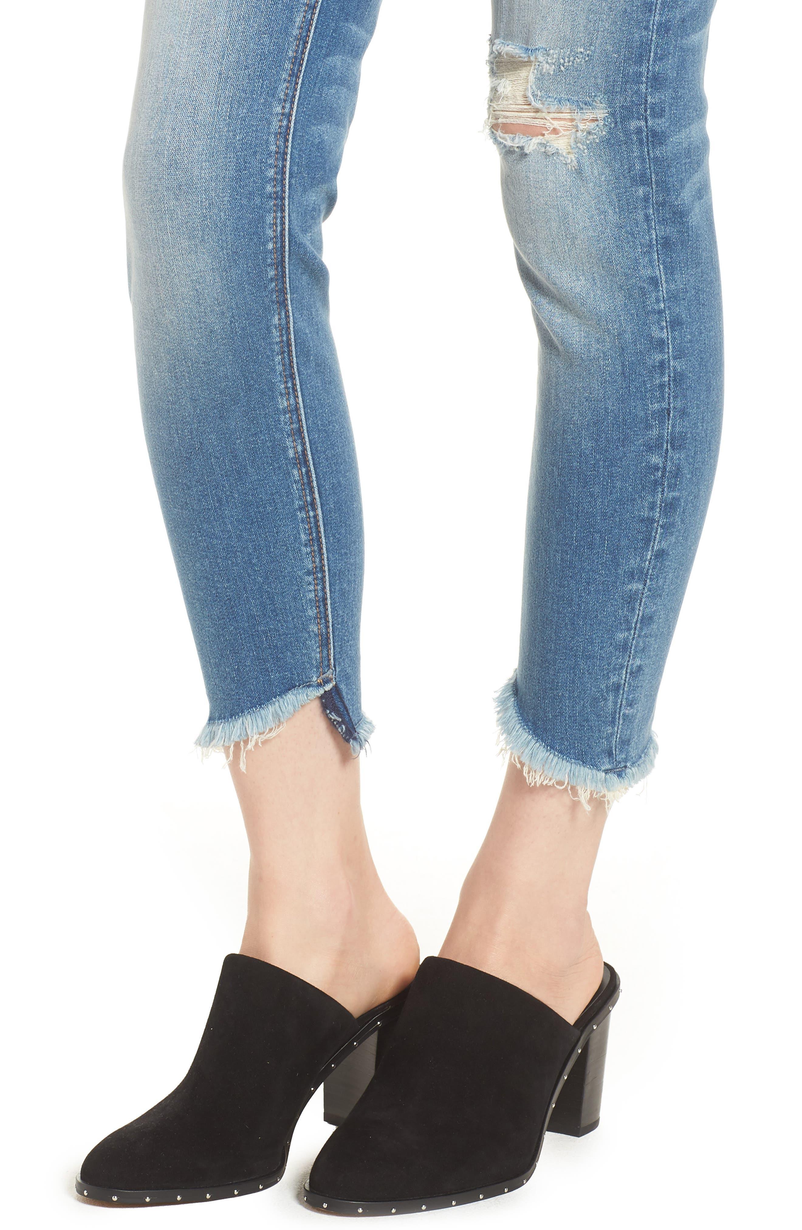 Marley Tulip Hem Ankle Skinny Jeans,                             Alternate thumbnail 4, color,                             Dark Wash