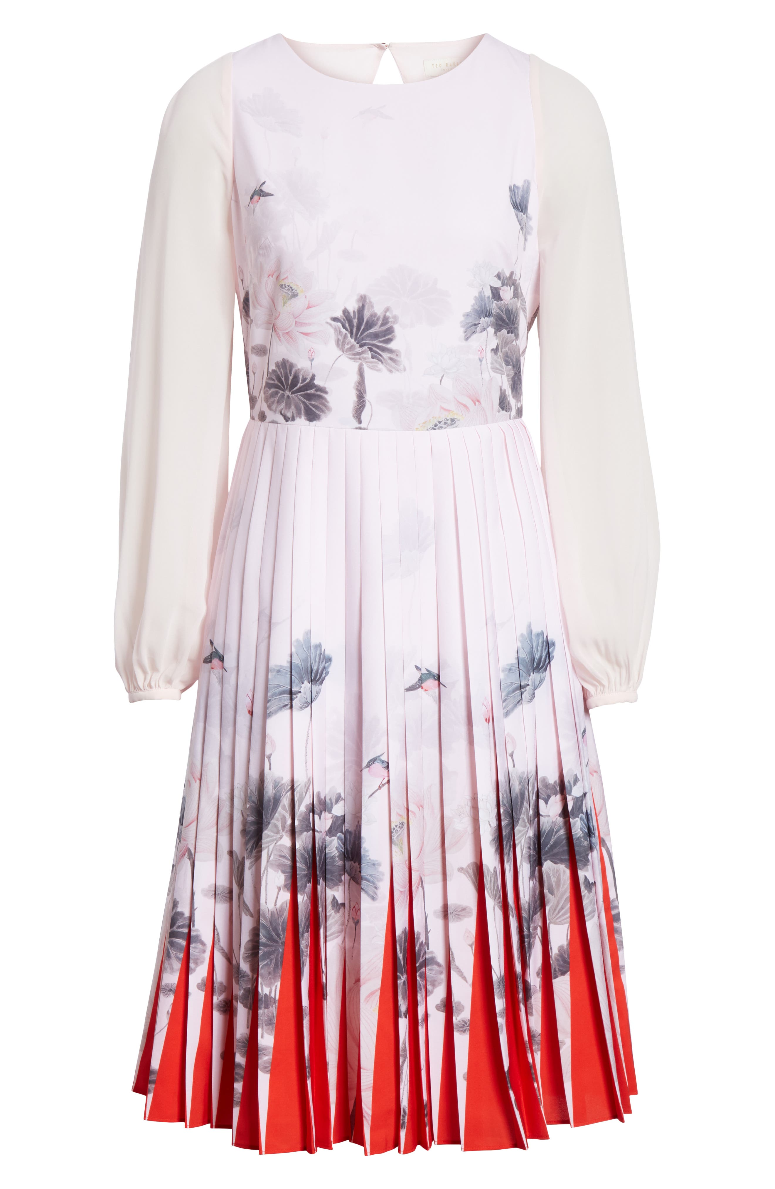 Lake of Dreams Pleated Dress,                             Alternate thumbnail 6, color,                             Dusky Pink