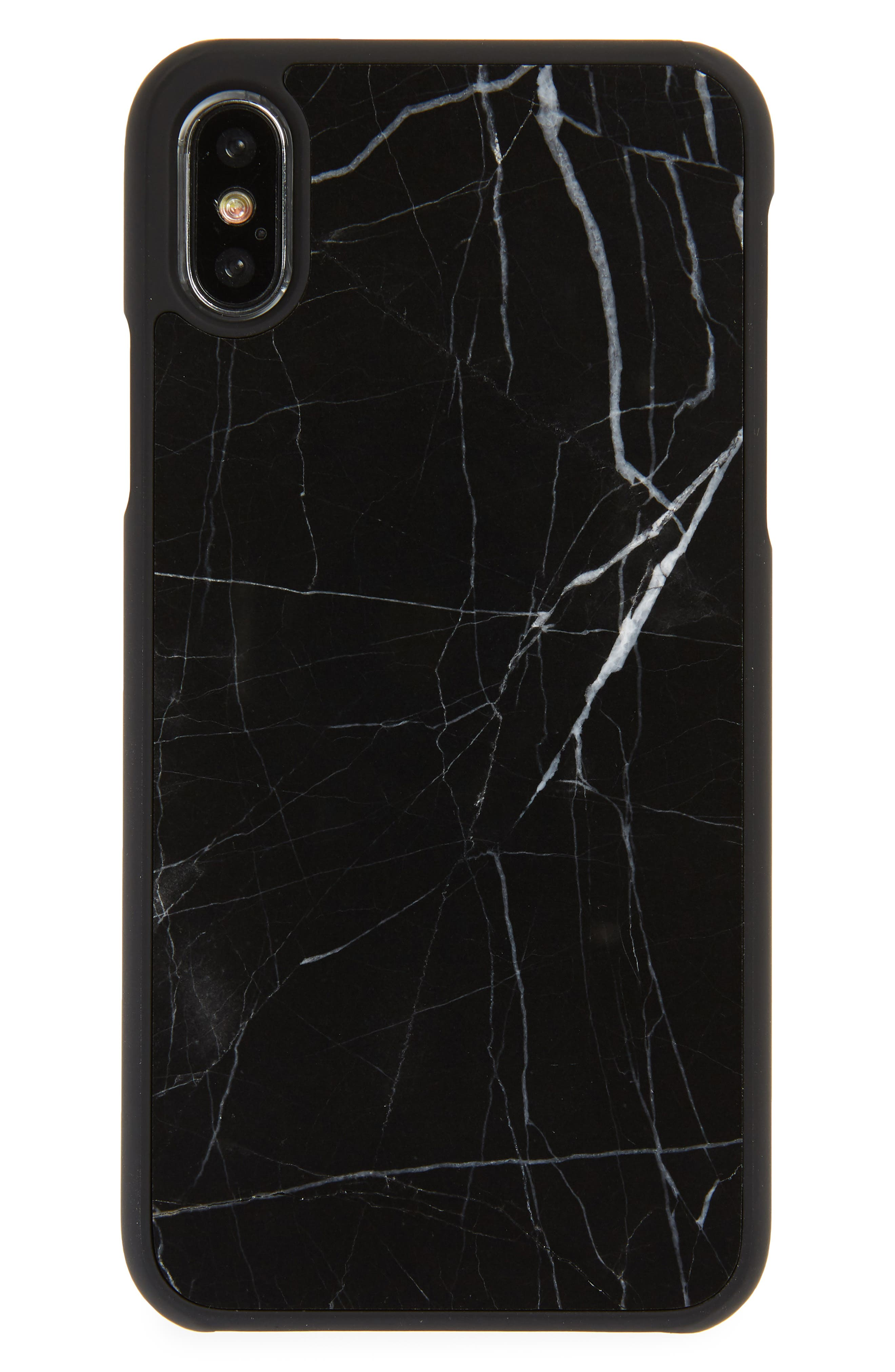 Genuine Black Marble iPhone X Case,                         Main,                         color, Black