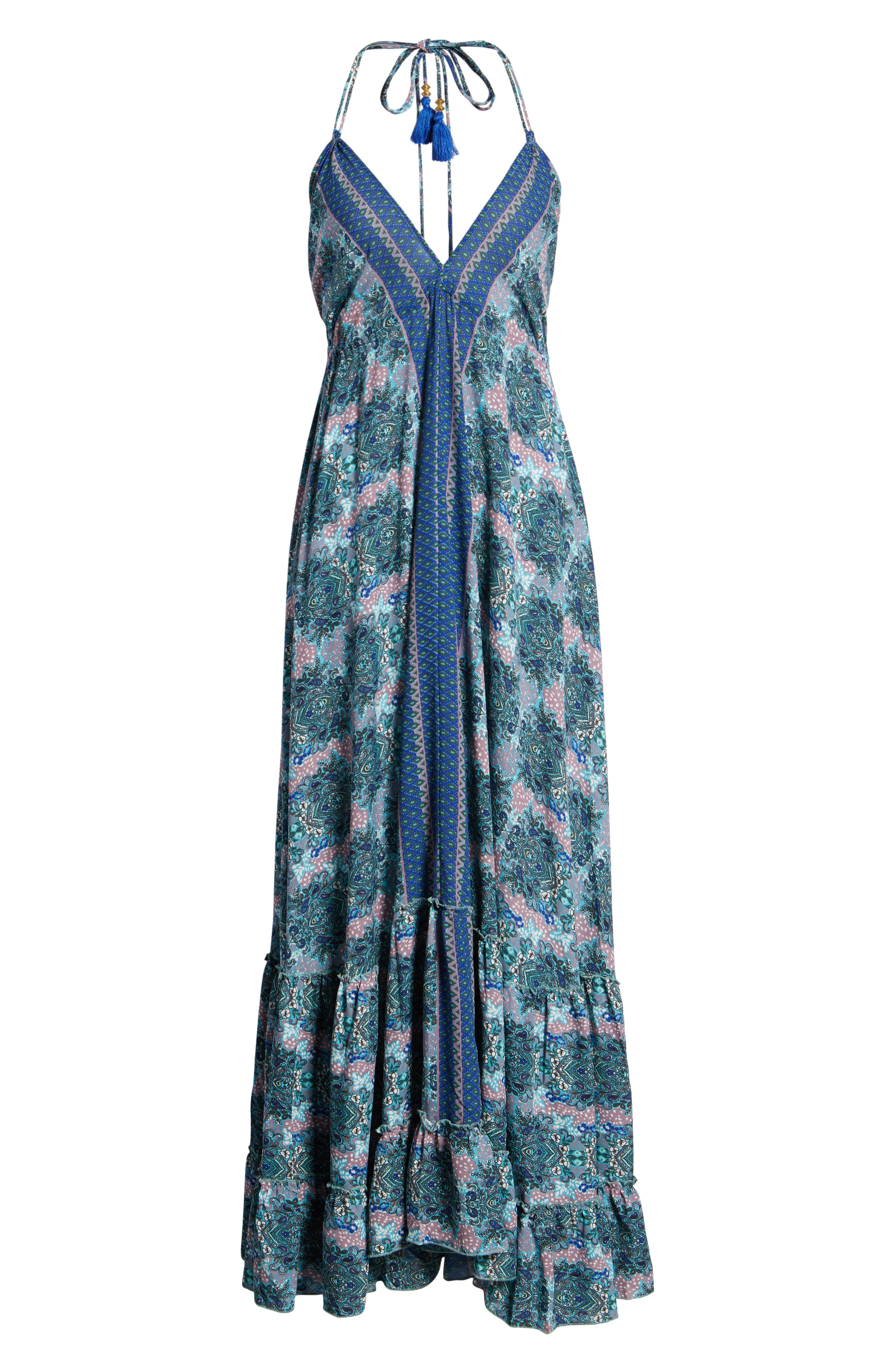 Poetic Dreams Halter Maxi Dress,                             Alternate thumbnail 8, color,                             Blue