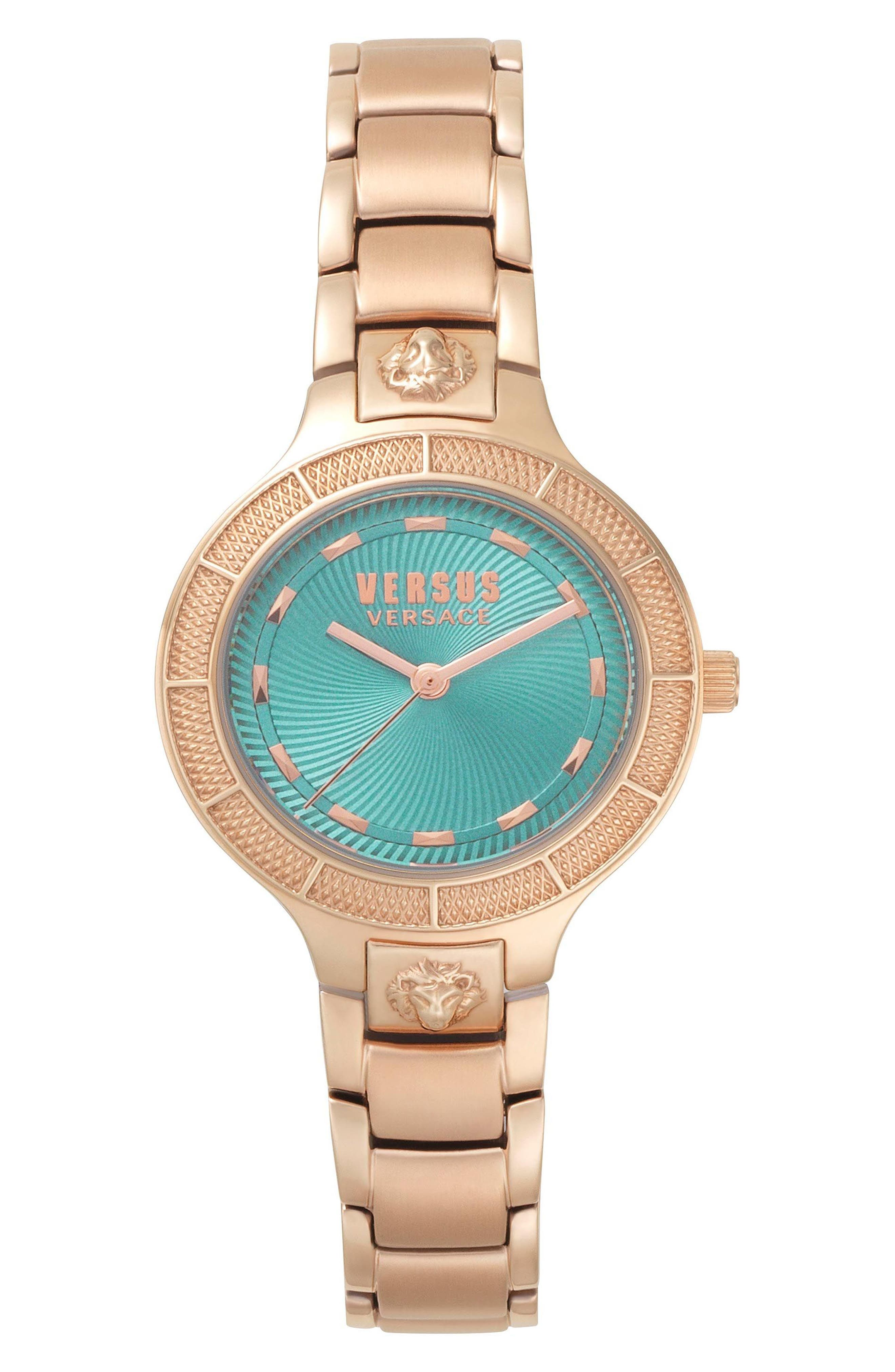 VERSUS by Versace Claremont Bracelet Watch, 32mm,                             Main thumbnail 1, color,                             Rose Gold/ Green/ Rose Gold