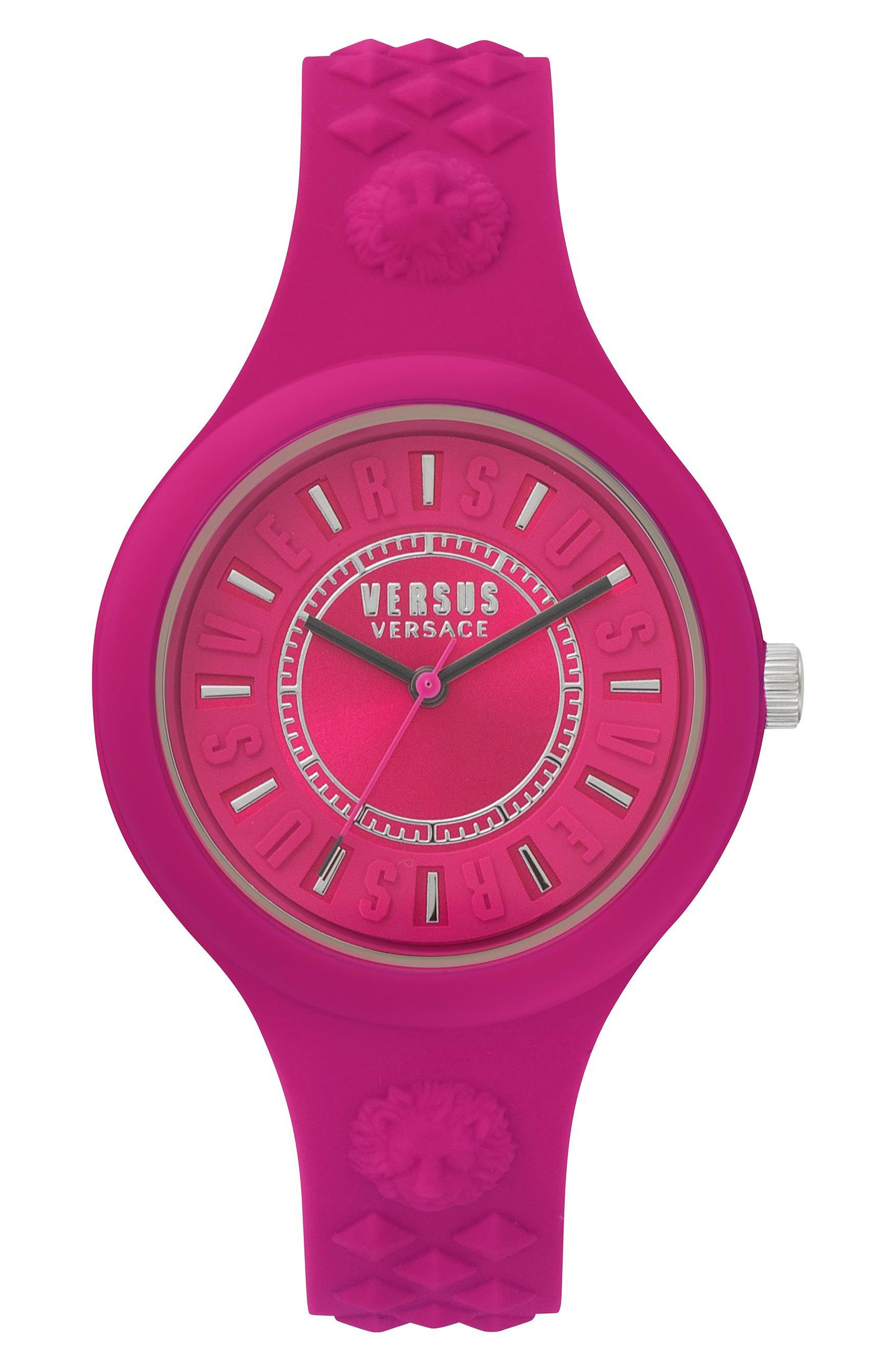 VERSUS by Versace Fire Island Silicone Strap Watch, 39mm,                             Main thumbnail 1, color,                             Fuchsia/ Grey