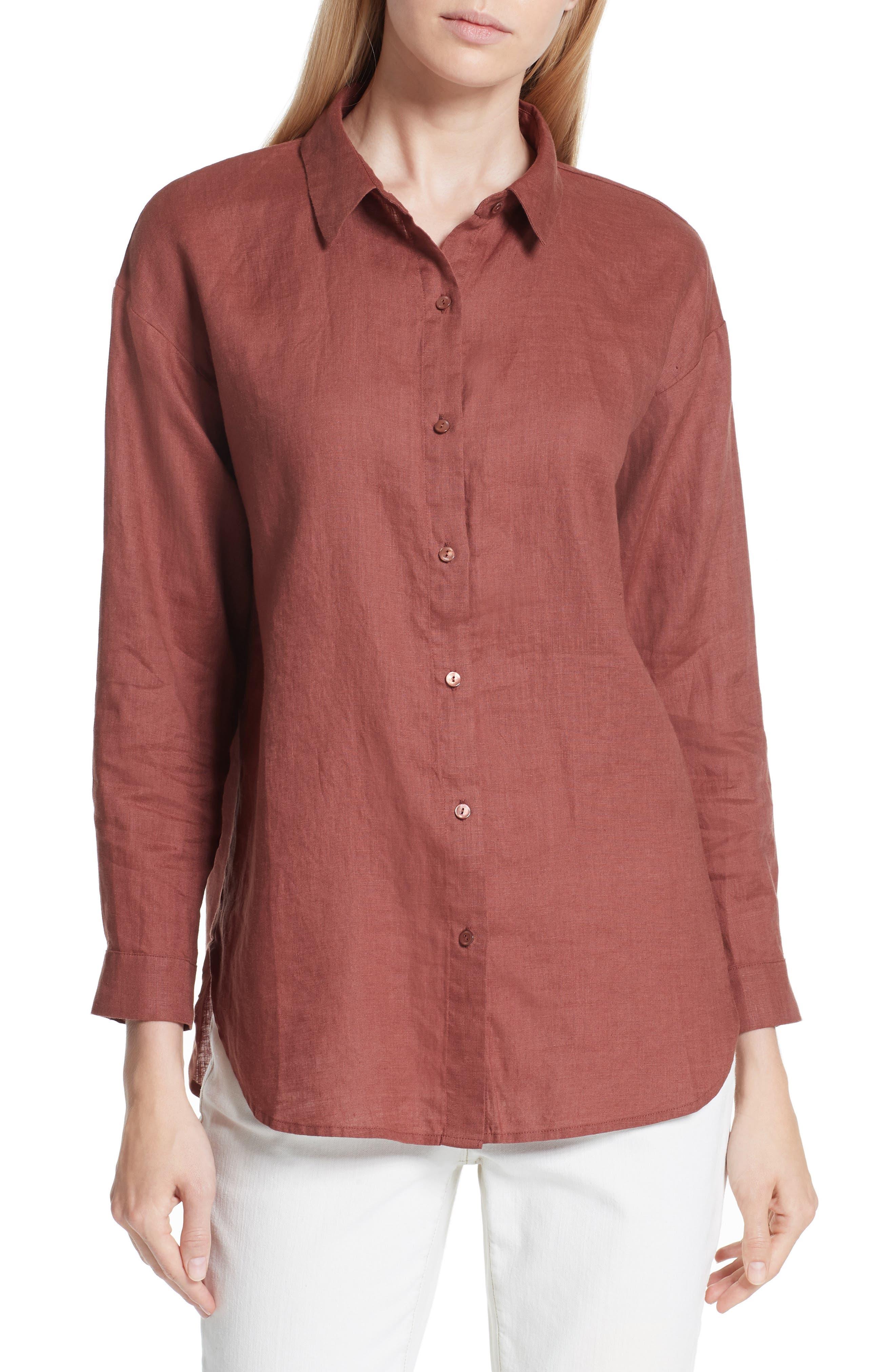 Classic Collar Linen Shirt,                         Main,                         color, Russet