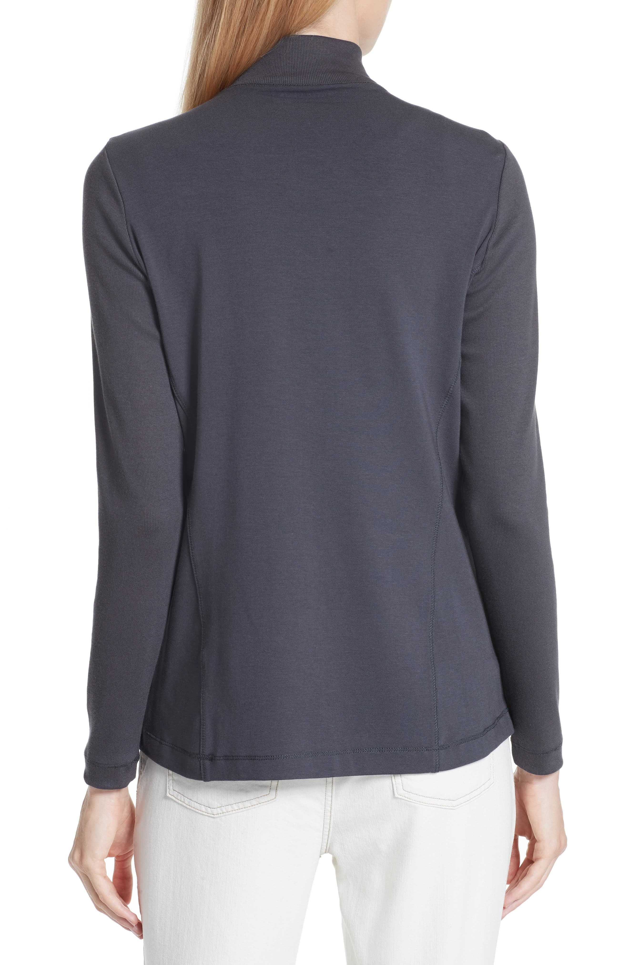 Mixed Organic Cotton Stretch Knit Jacket,                             Alternate thumbnail 2, color,                             Graphite