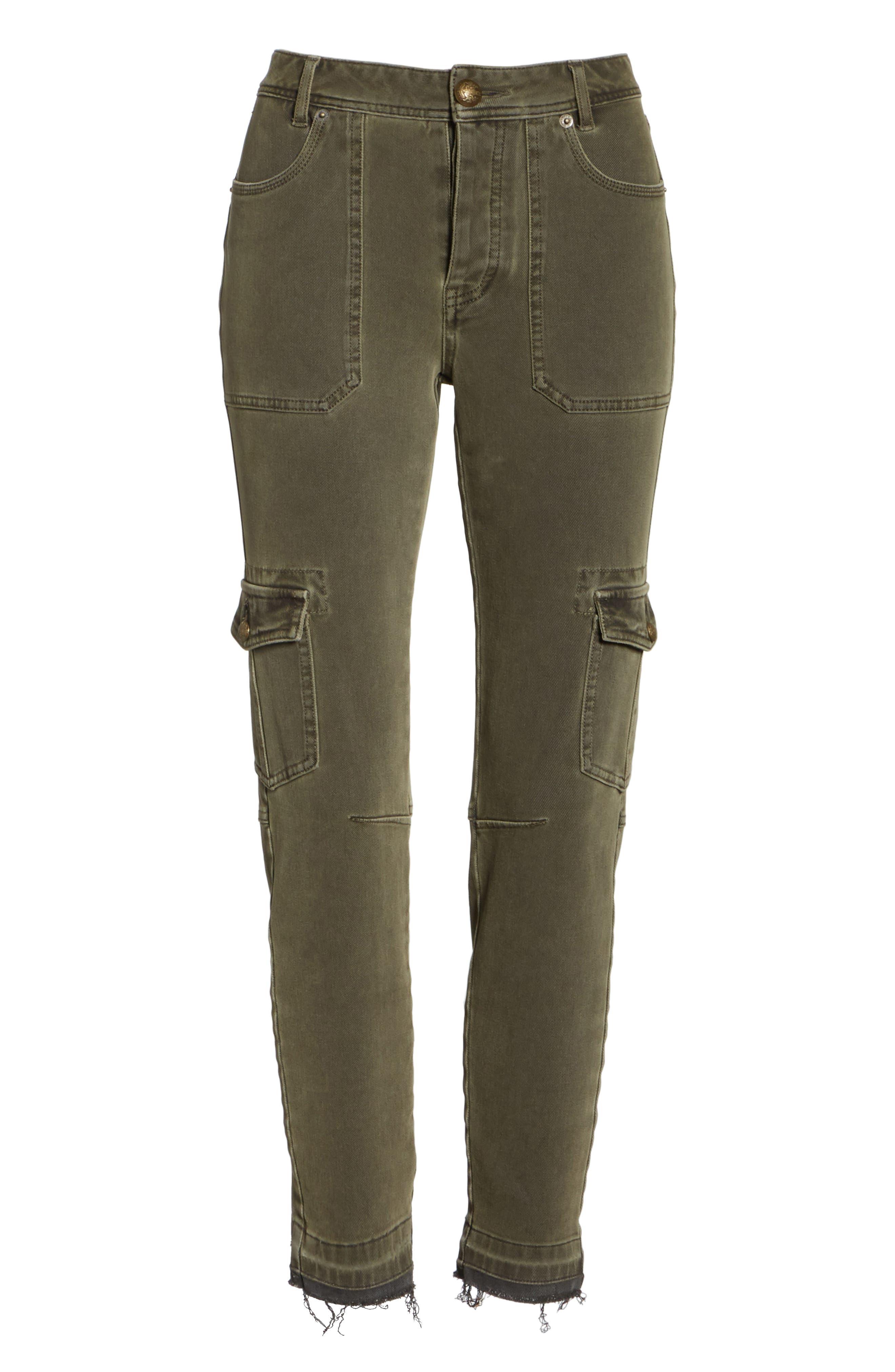 Utility Skinny Jeans,                             Alternate thumbnail 6, color,                             Moss