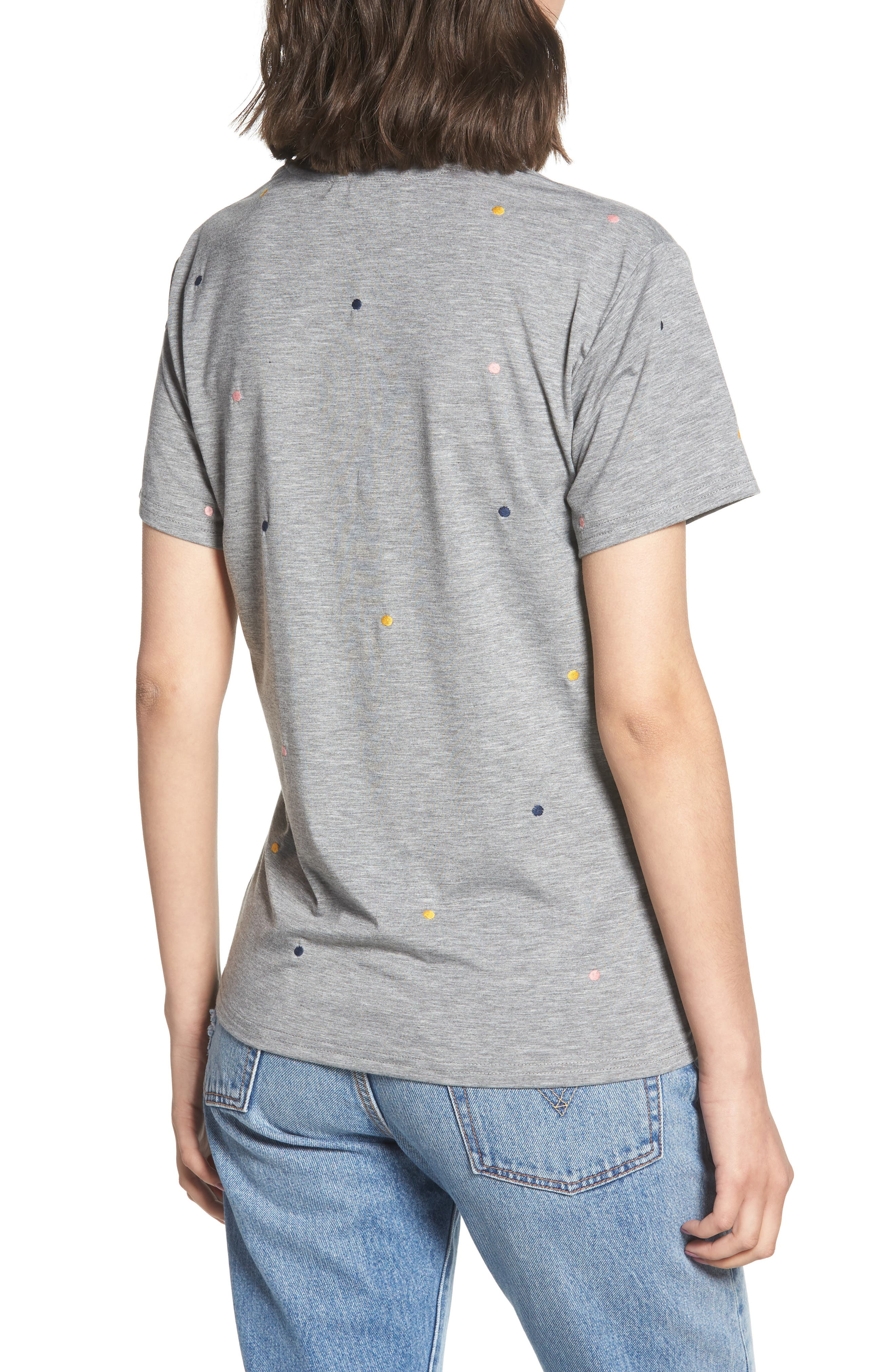 Embroidered Polka Dot Tee,                             Alternate thumbnail 2, color,                             Grey