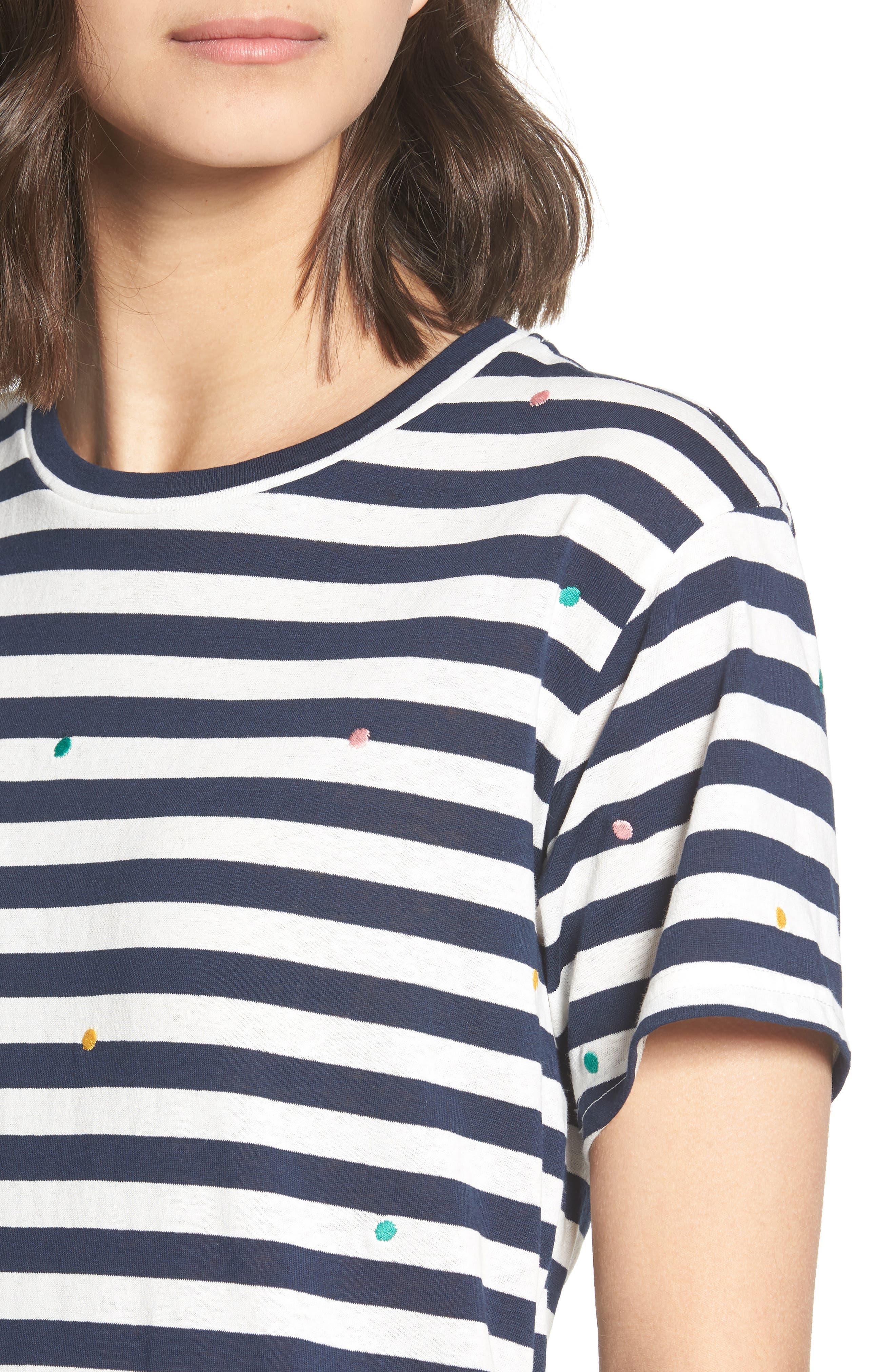 Polka Dot Embroidered Stripe Tee,                             Alternate thumbnail 4, color,                             Navy/ White