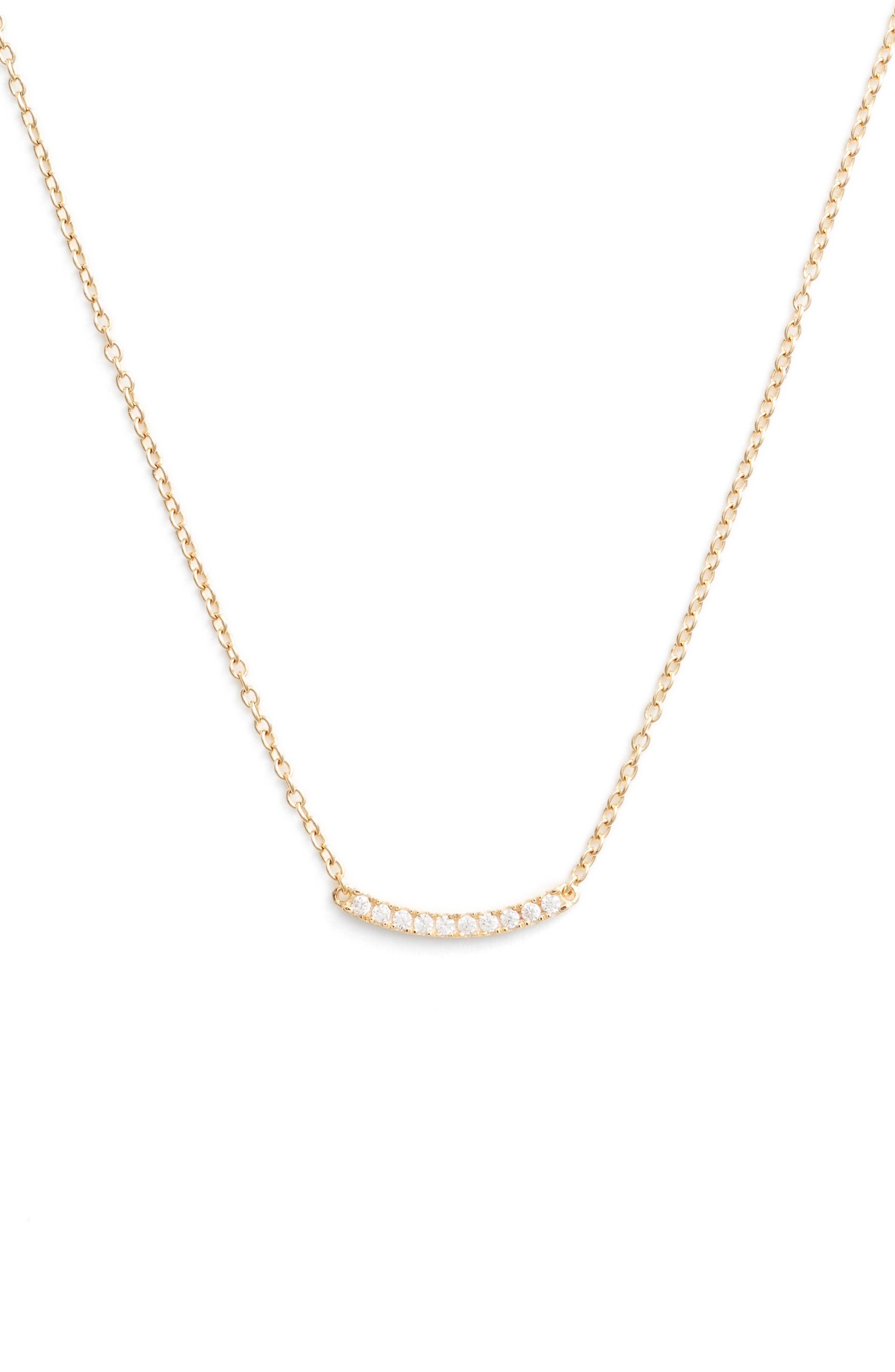 Nordstrom Pavé Curved Bar Pendant Necklace
