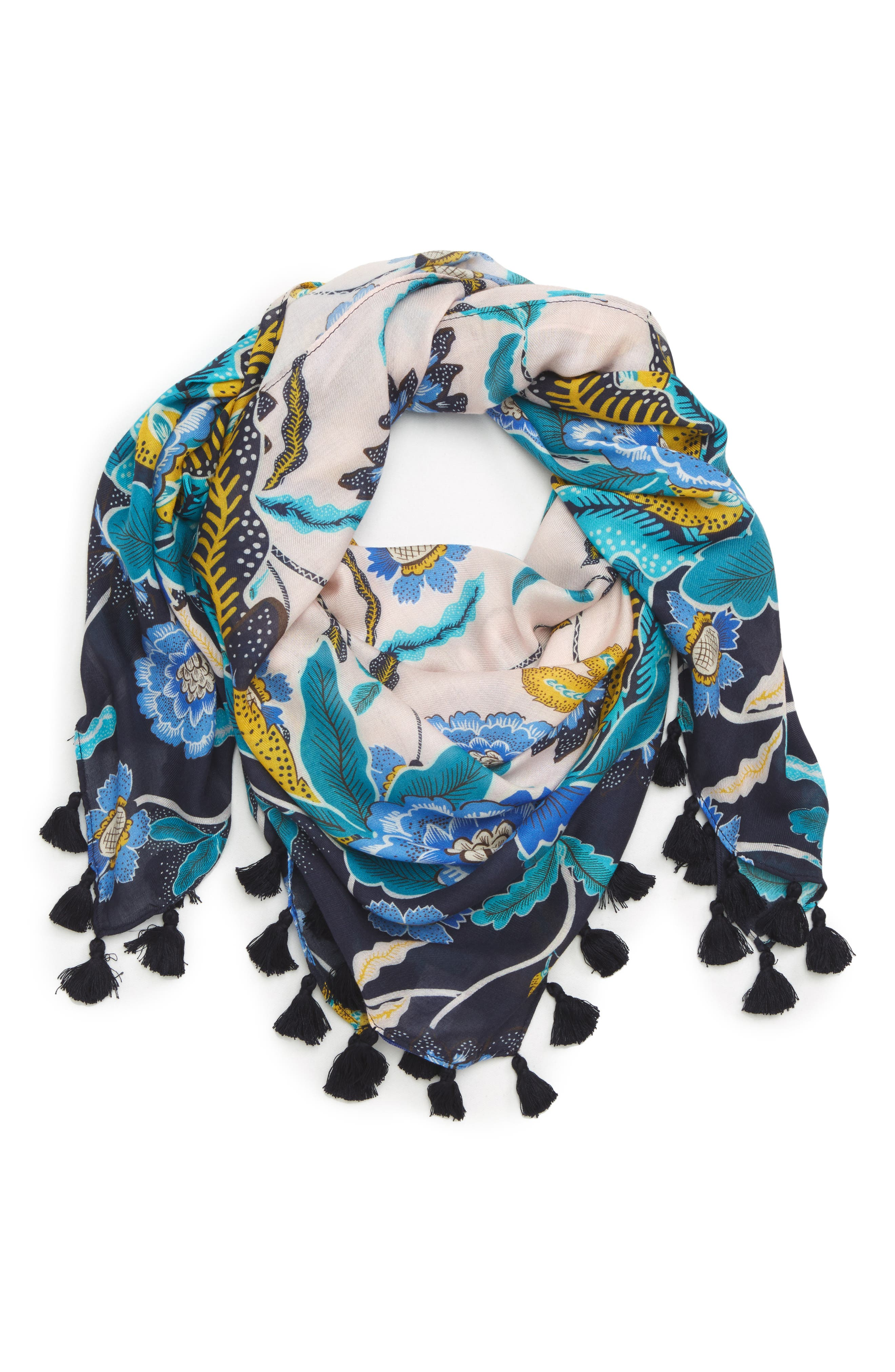 Mixed Floral Tassel Square Scarf,                         Main,                         color, Pink