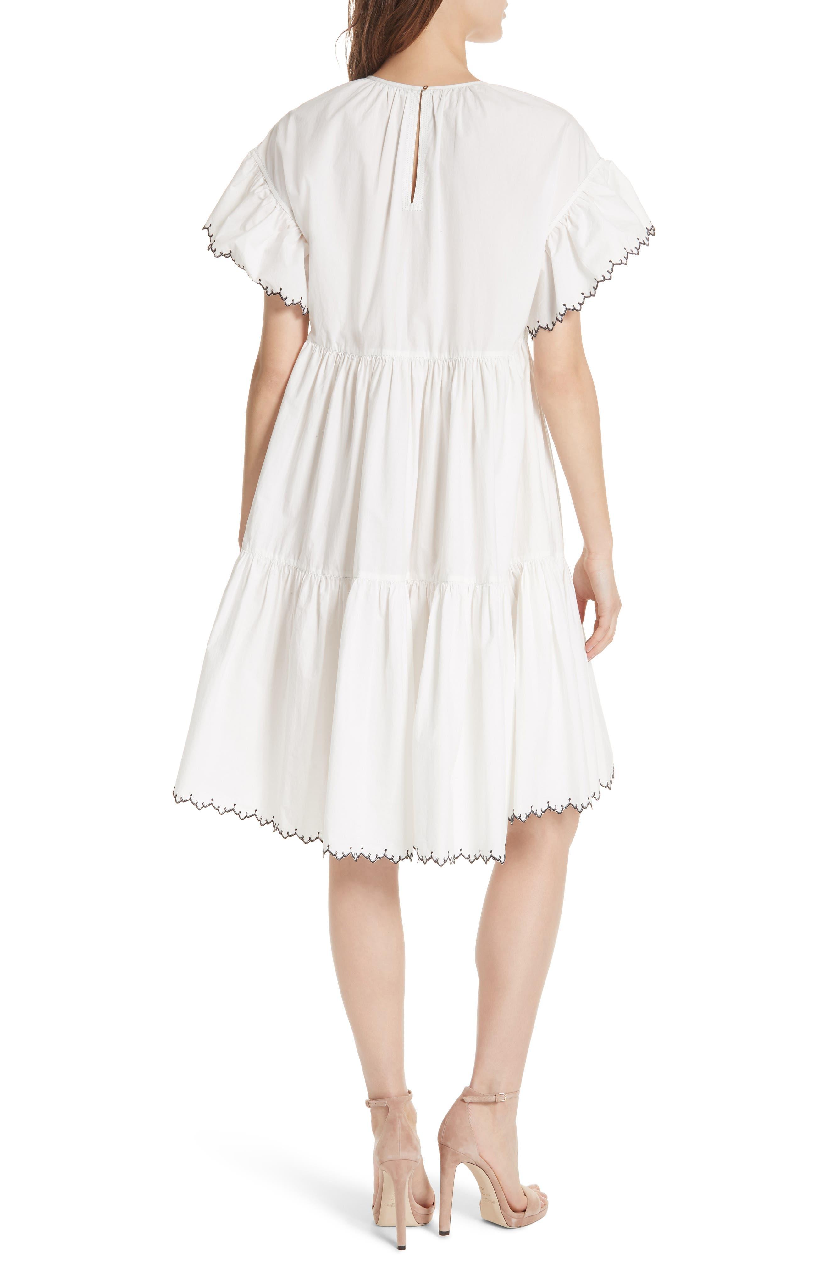 Rosemarie Cotton Poplin Dress,                             Alternate thumbnail 2, color,                             Blanc