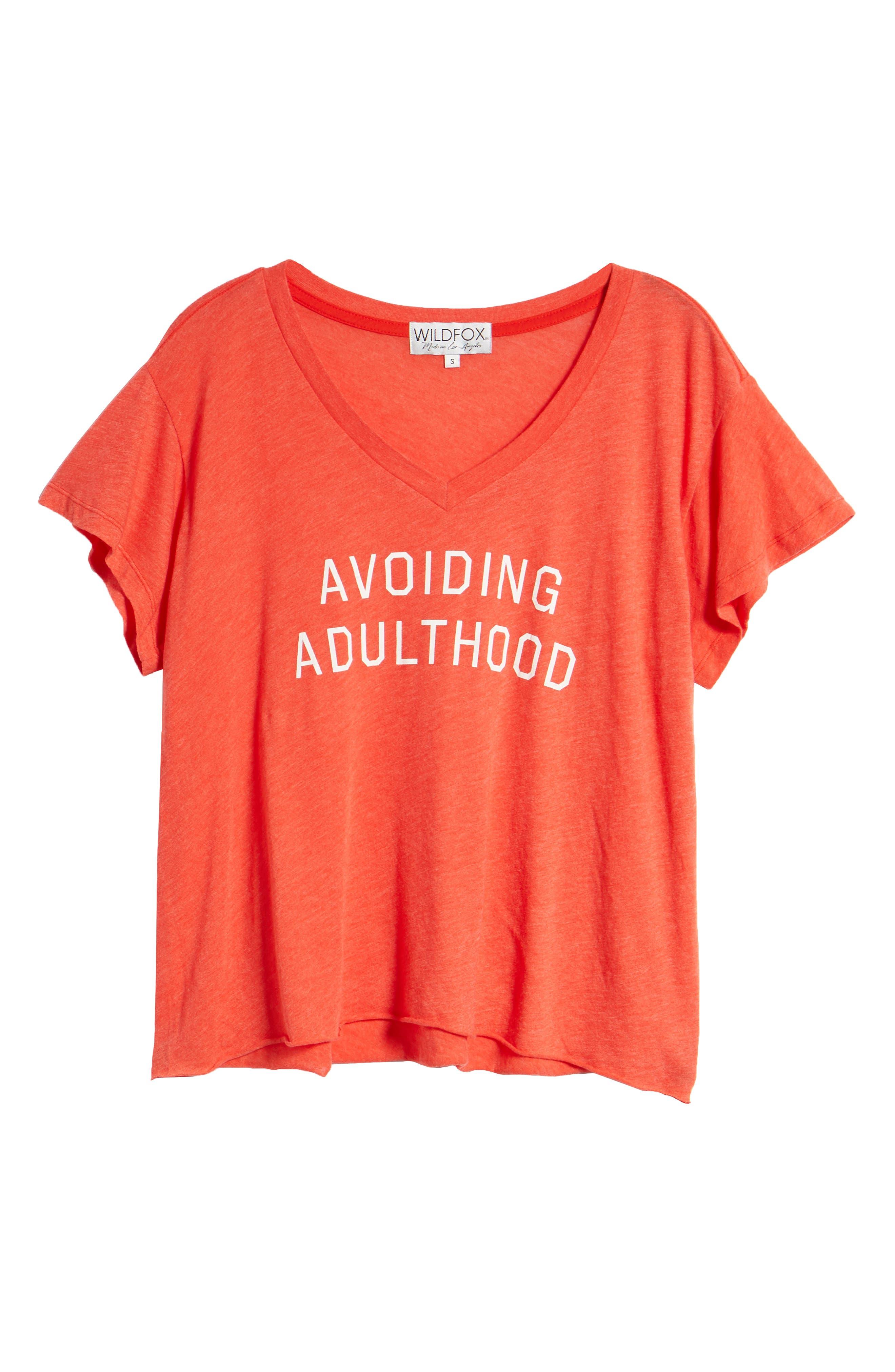 Avoiding Adulthood Romeo Tee,                             Alternate thumbnail 6, color,                             Hot Lipstick