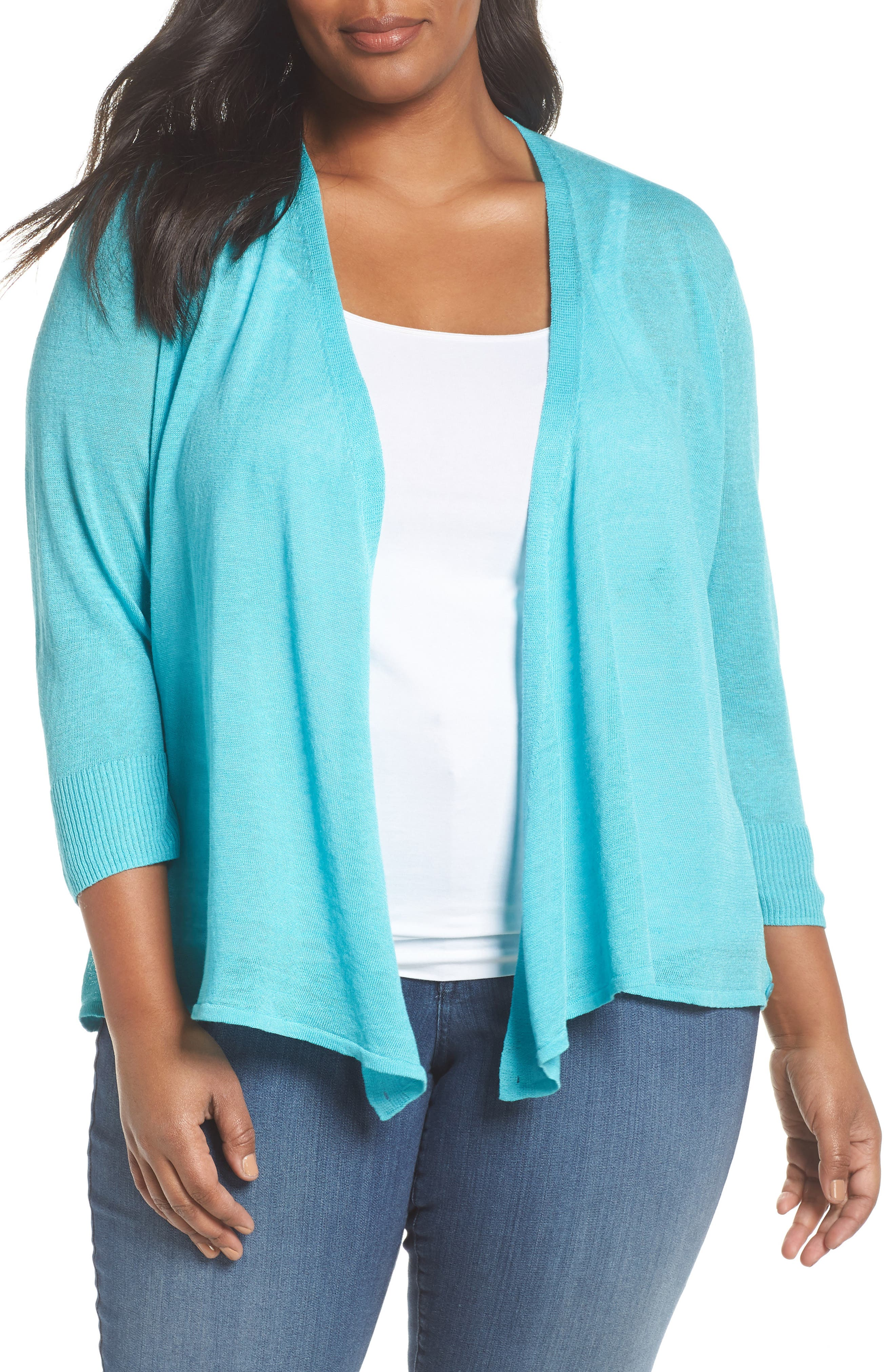 4-Way Convertible Three Quarter Sleeve Cardigan,                         Main,                         color, Aqua