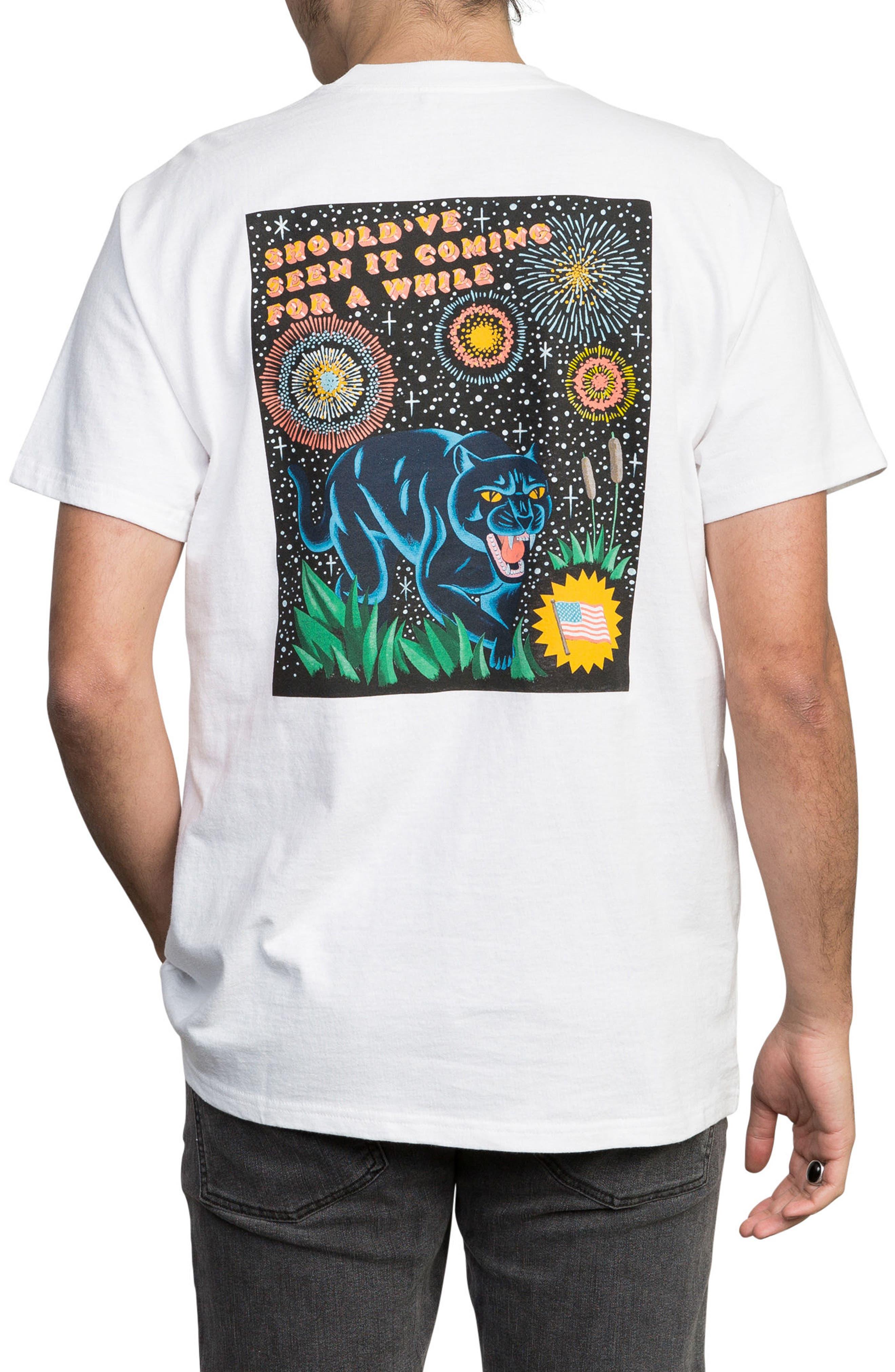 Luke Pelletier Blue Panther T-Shirt,                             Alternate thumbnail 2, color,                             White