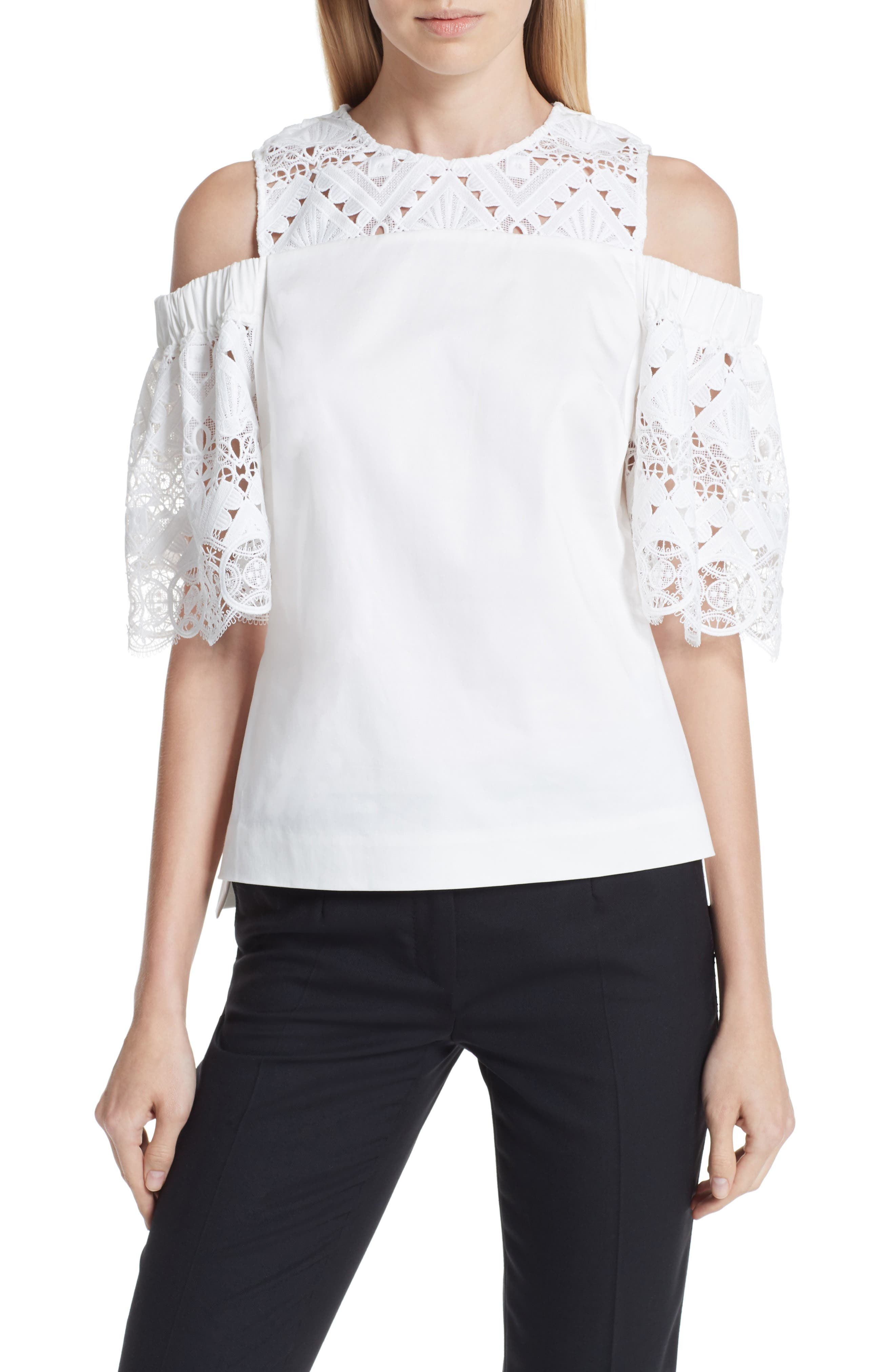 Taluah Mixed Lace Cold Shoulder Blouse,                             Main thumbnail 1, color,                             White