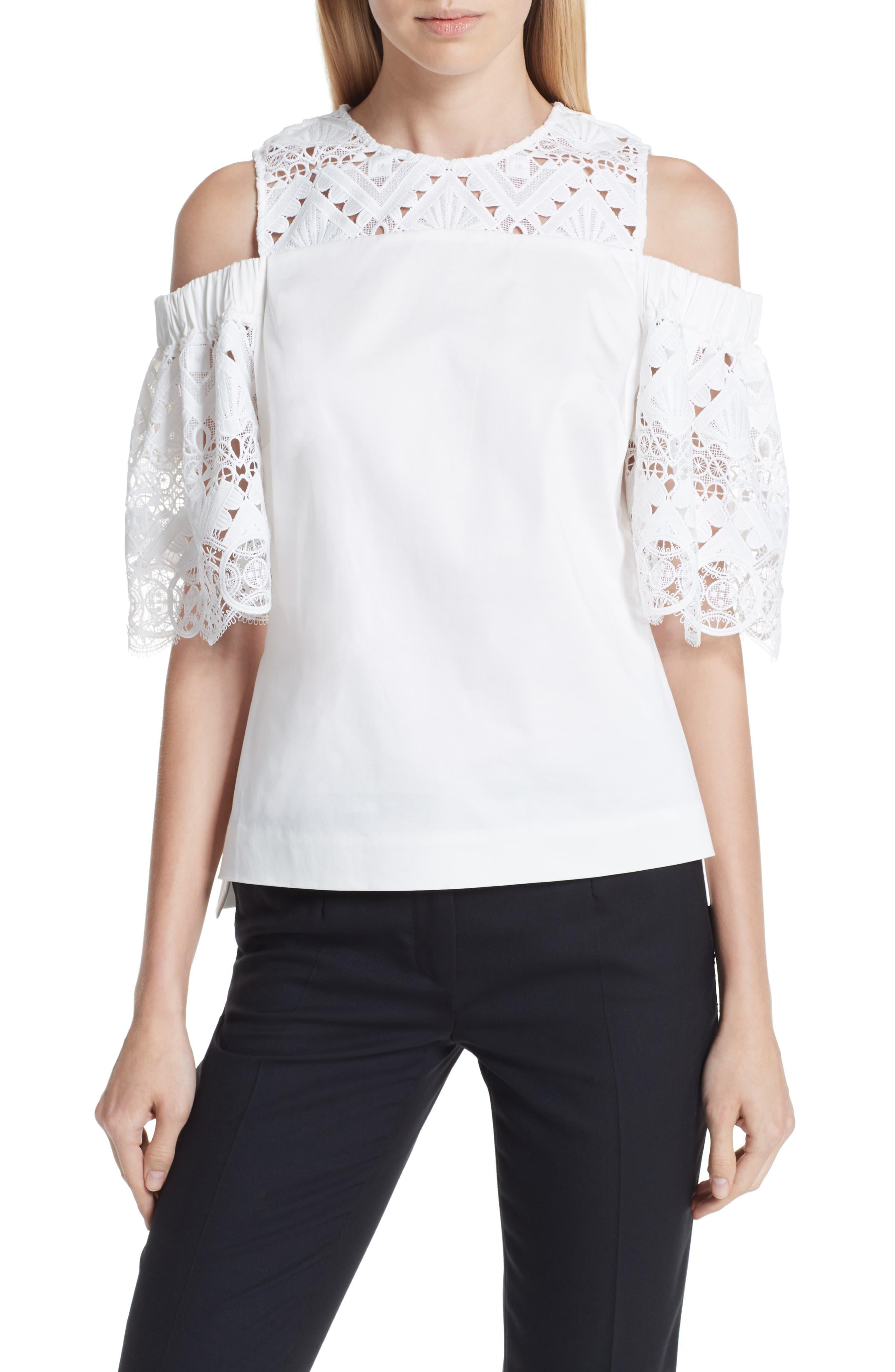 Taluah Mixed Lace Cold Shoulder Blouse,                         Main,                         color, White