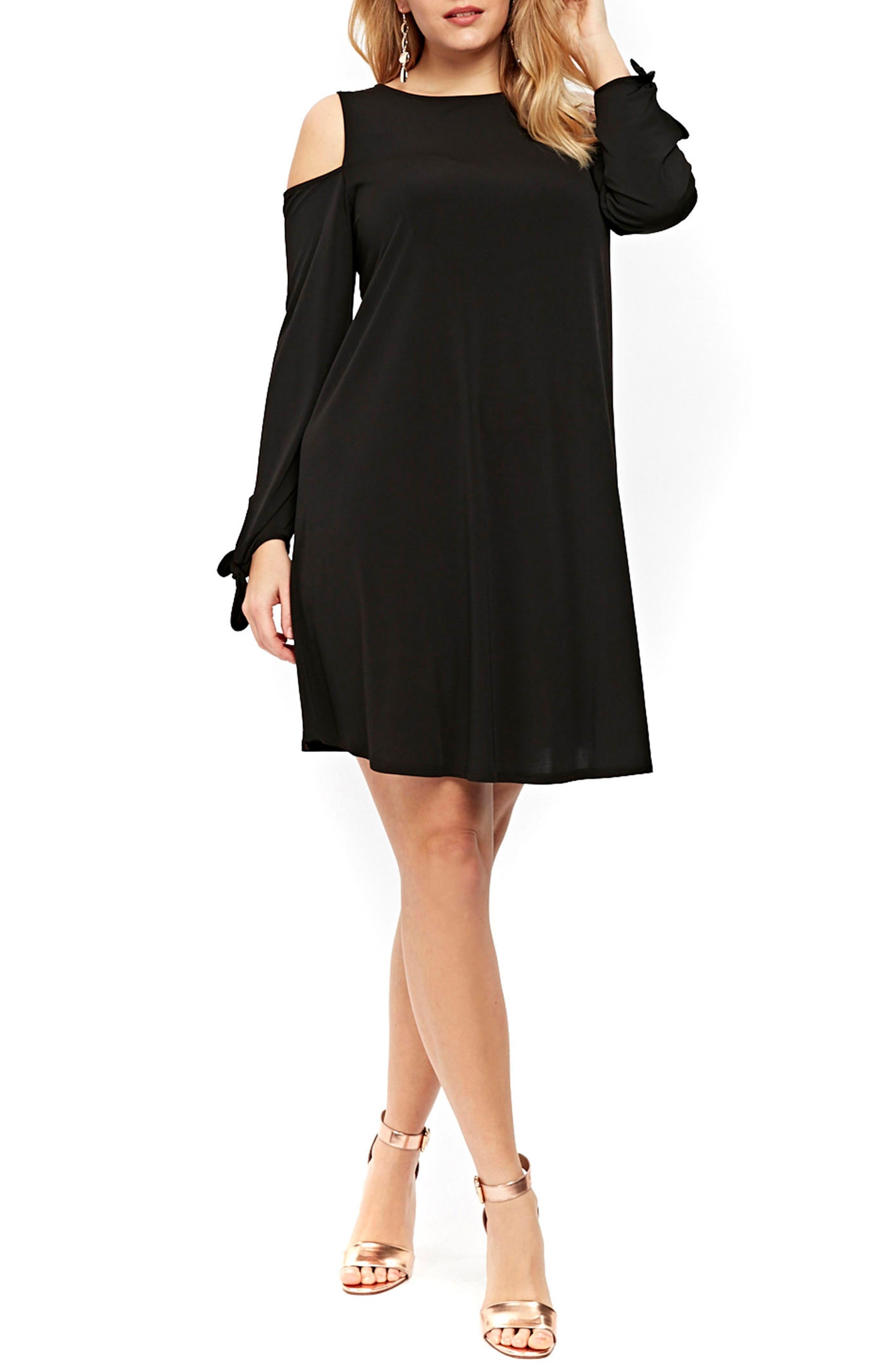 Evans Cold Shoulder Tie Sleeve Shift Dress (Plus Size)
