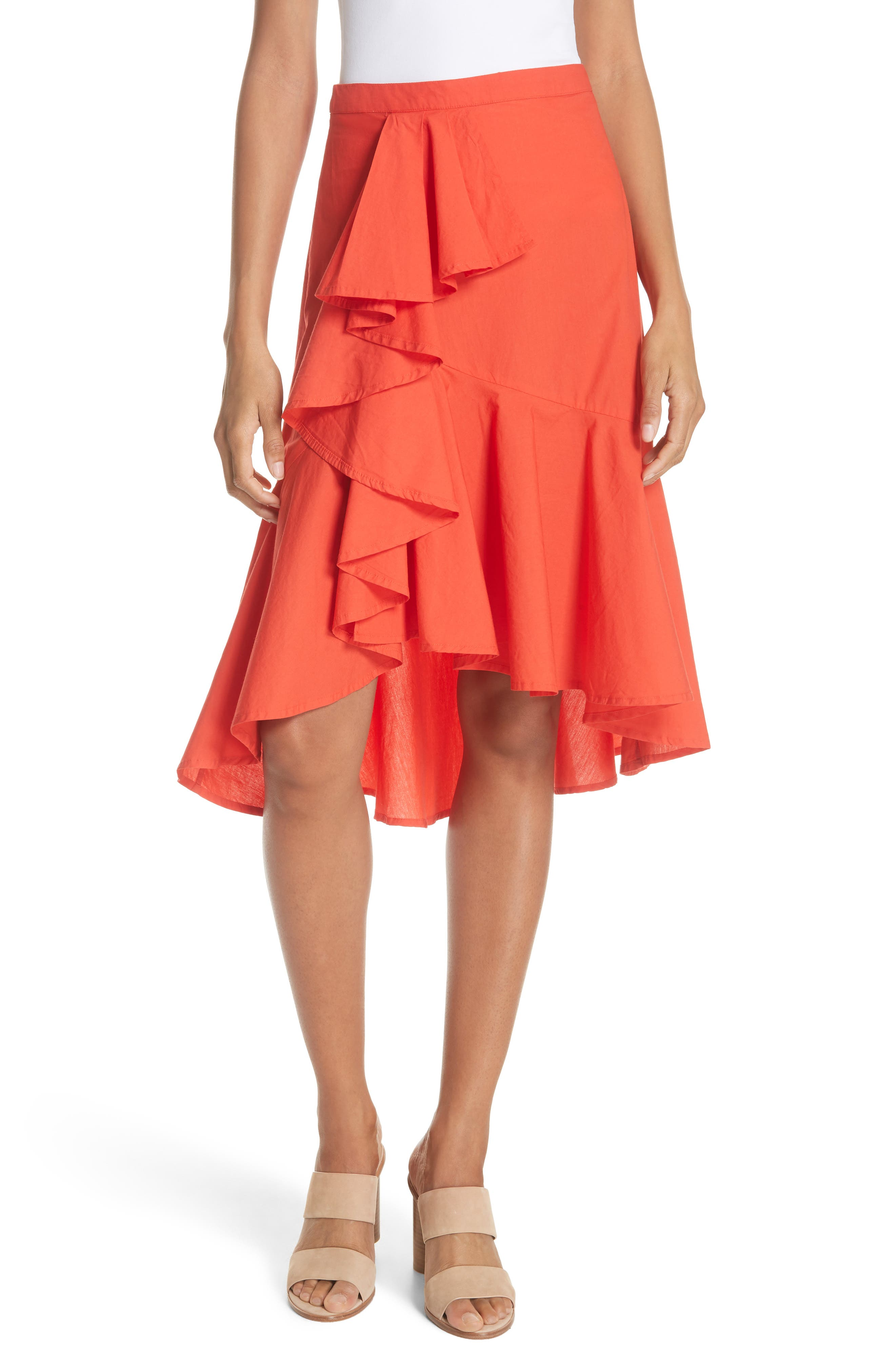 Chesmu Ruffled Cotton Skirt,                             Main thumbnail 1, color,                             Salsa
