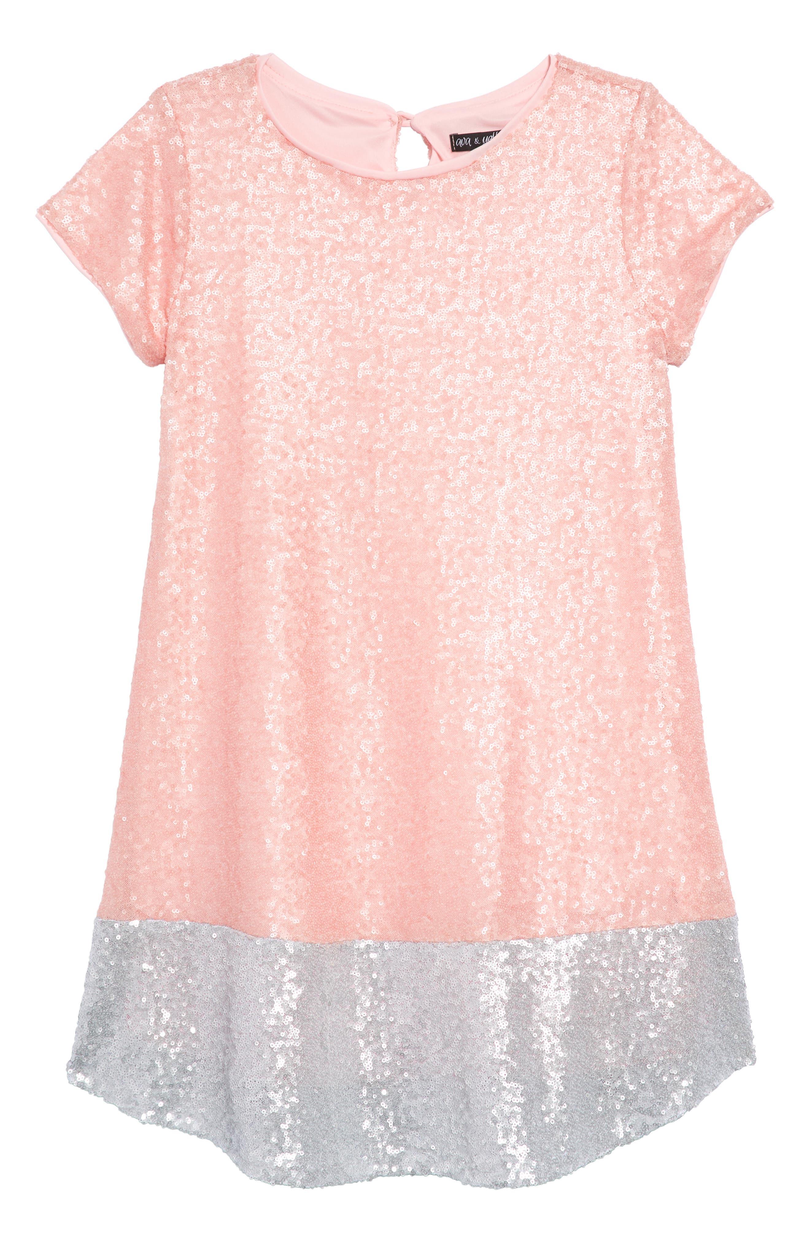 Sequin Shift Dress,                             Main thumbnail 1, color,                             Pink/ Silver