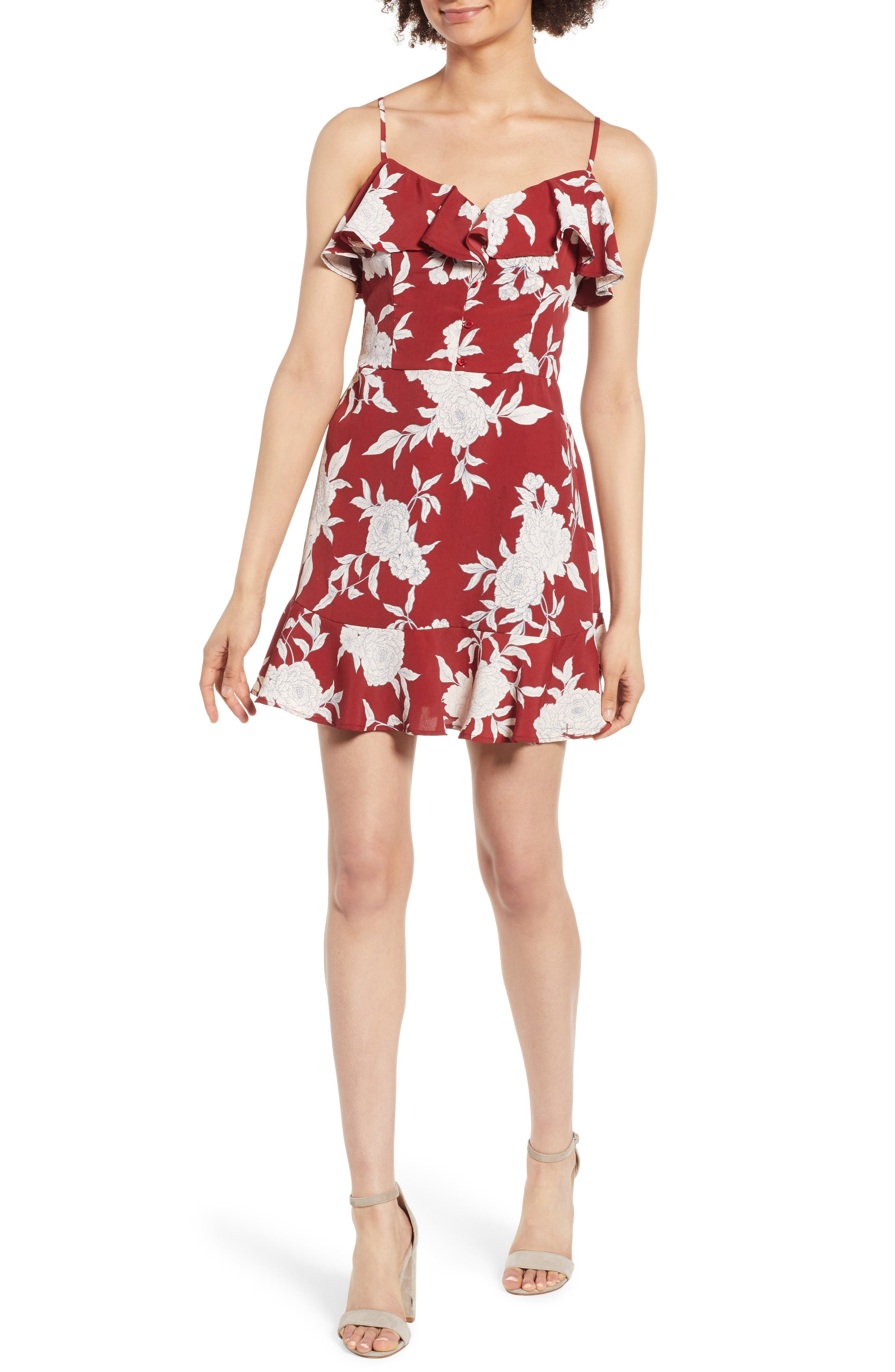 Floral Print Ruffle Dress,                         Main,                         color, Red Ground Floral