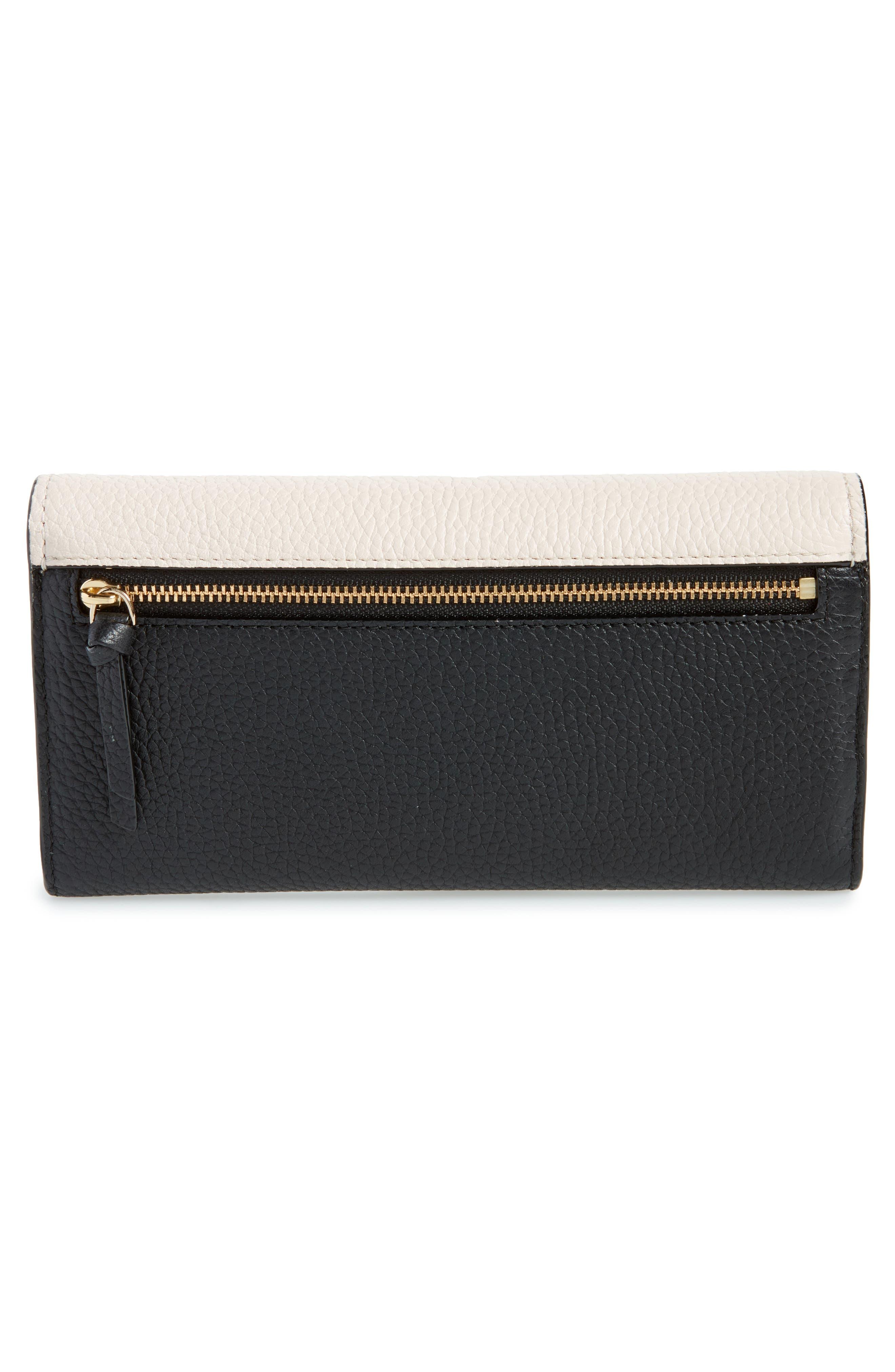 jackson street - kinsley leather wallet,                             Alternate thumbnail 4, color,                             Black/ Bleach Bone